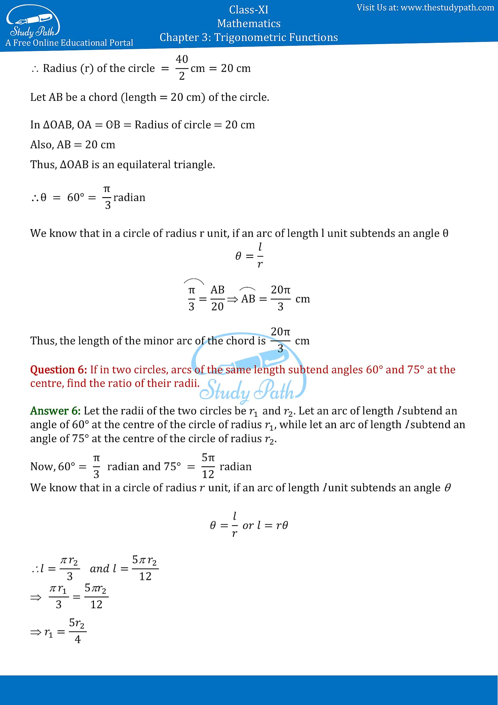 NCERT Solutions for Class 11 Maths Chapter 3 Trigonometric Functions Exercise 3.1