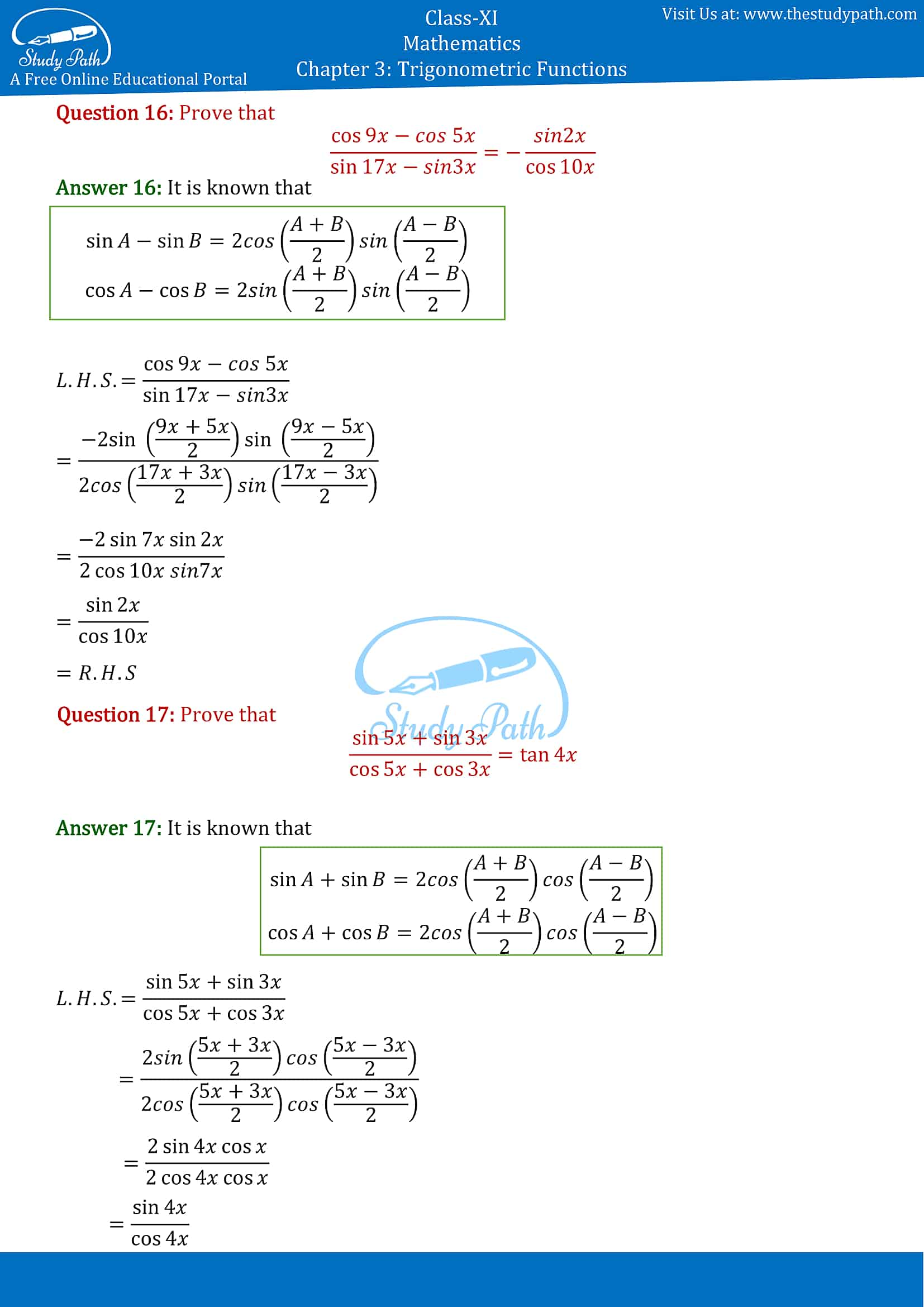 NCERT Solutions for Class 11 Maths Chapter 3 Trigonometric Functions Exercise 3.3