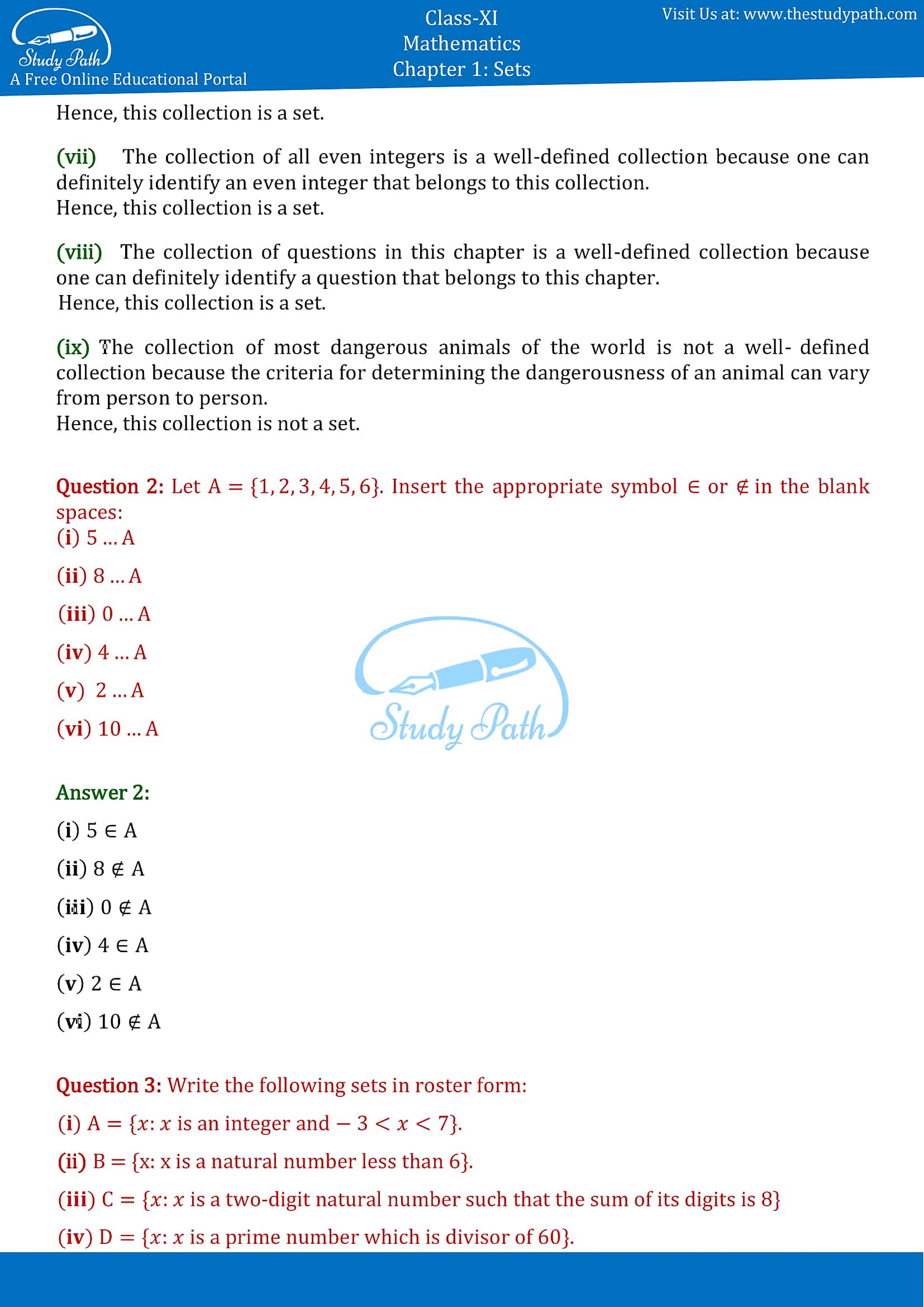 NCERT Solutions for Class 11 Maths chapter 1 sets Exercise 1.1