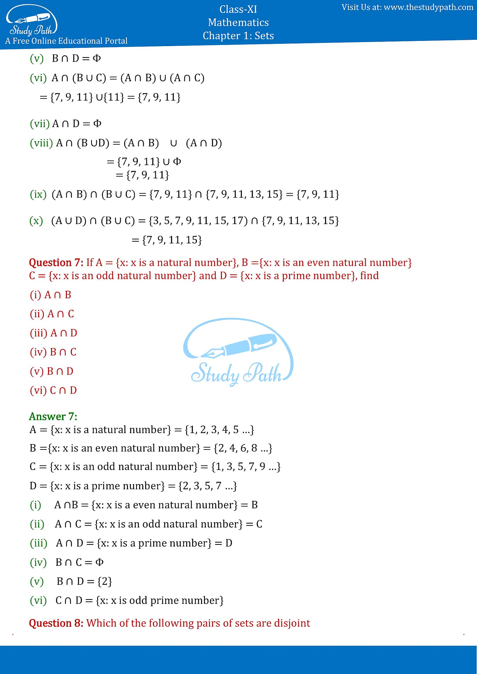 NCERT Solutions for Class 11 Maths chapter 1 sets Exercise 1.4