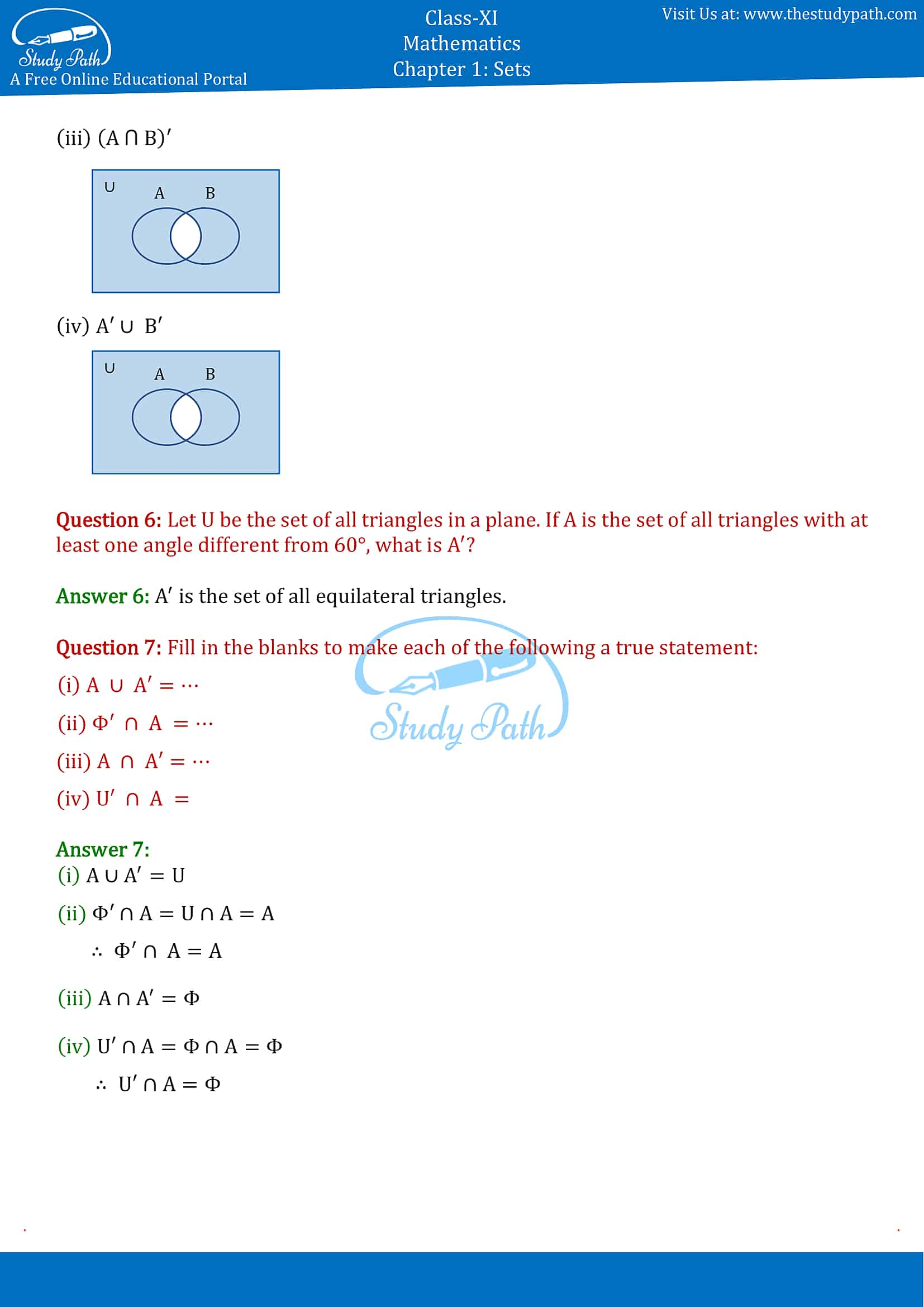 NCERT Solutions for Class 11 Maths chapter 1 sets Exercise 1.5