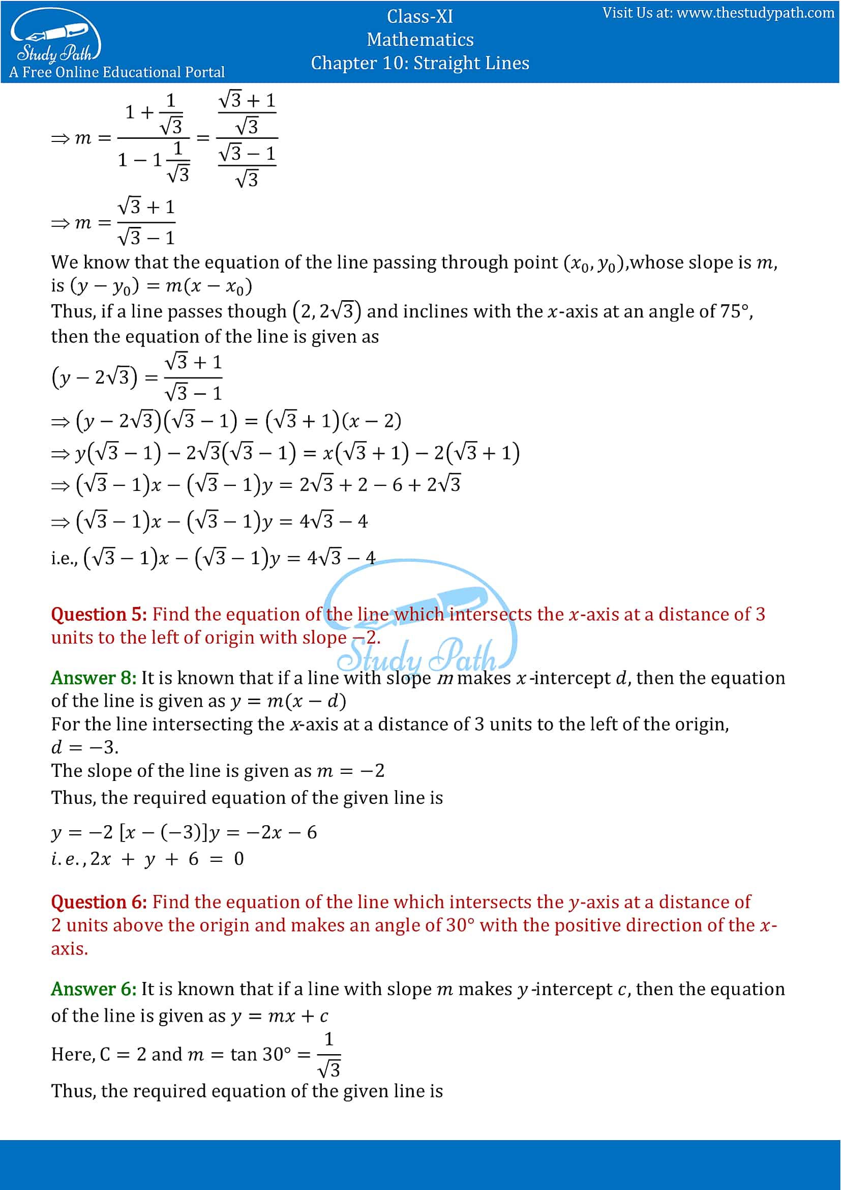 NCERT Solutions for Class 11 Maths chapter 10 Straight Lines Exercise 10.2 Part-2