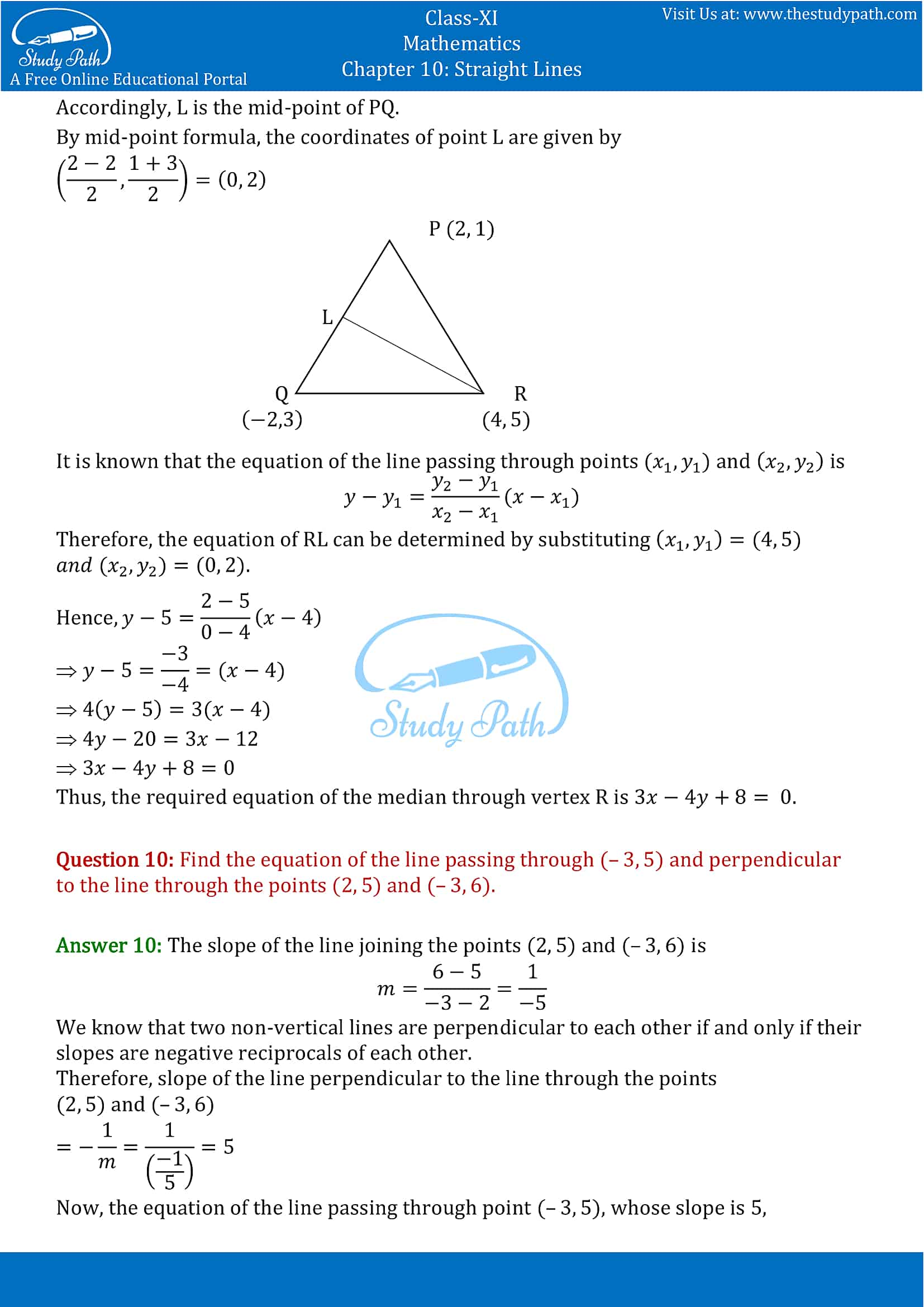 NCERT Solutions for Class 11 Maths chapter 10 Straight Lines Exercise 10.2 Part-4