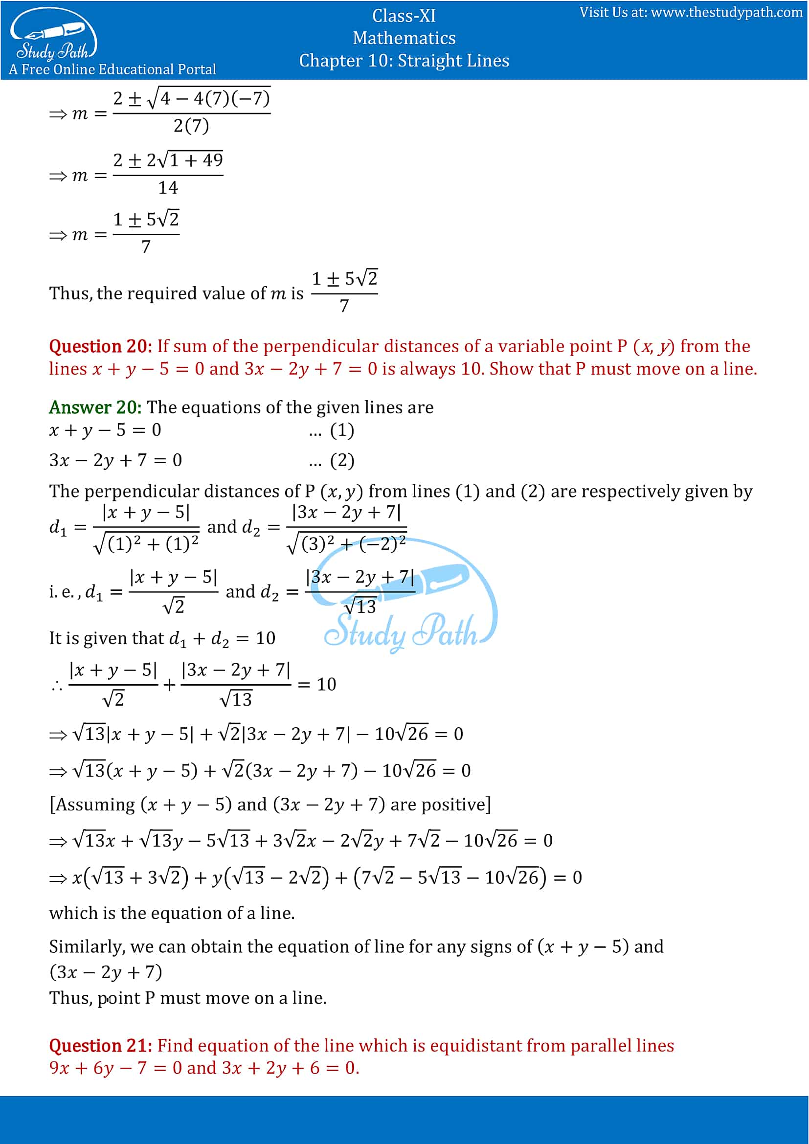 NCERT Solutions for Class 11 Maths chapter 10 Straight Lines Miscellaneous Exercise Part-15