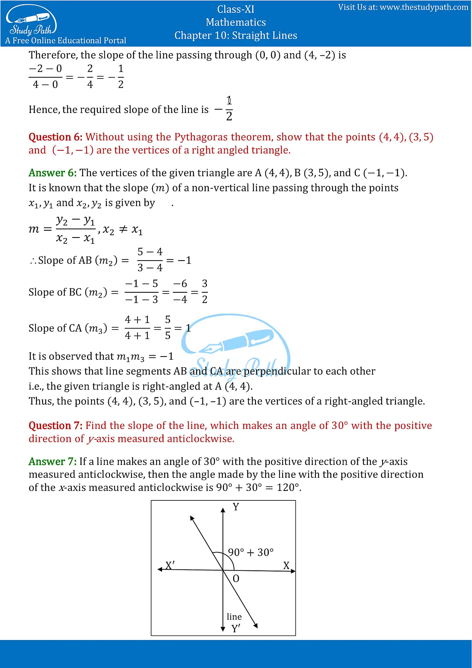 NCERT Solutions for Class 11 Maths chapter 10 Straight Lines Part-4