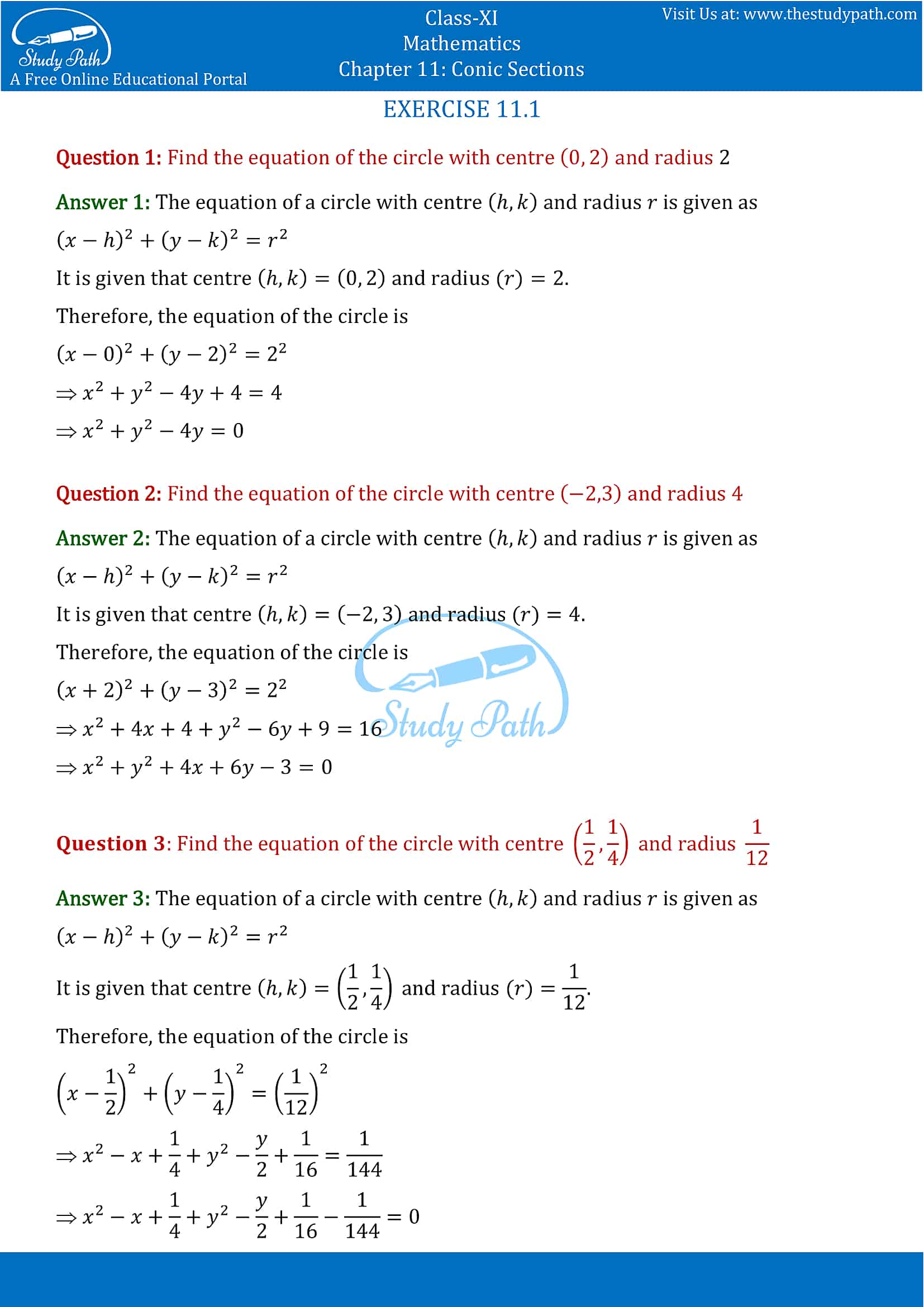 NCERT Solutions for Class 11 Maths chapter 11 Conic Section Exercise 11.1 Part-1