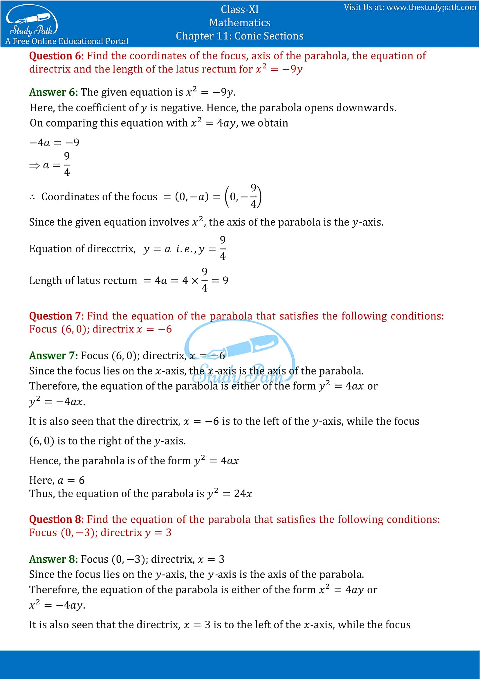 NCERT Solutions for Class 11 Maths chapter 11 Conic Section Exercise 11.2 Part-3