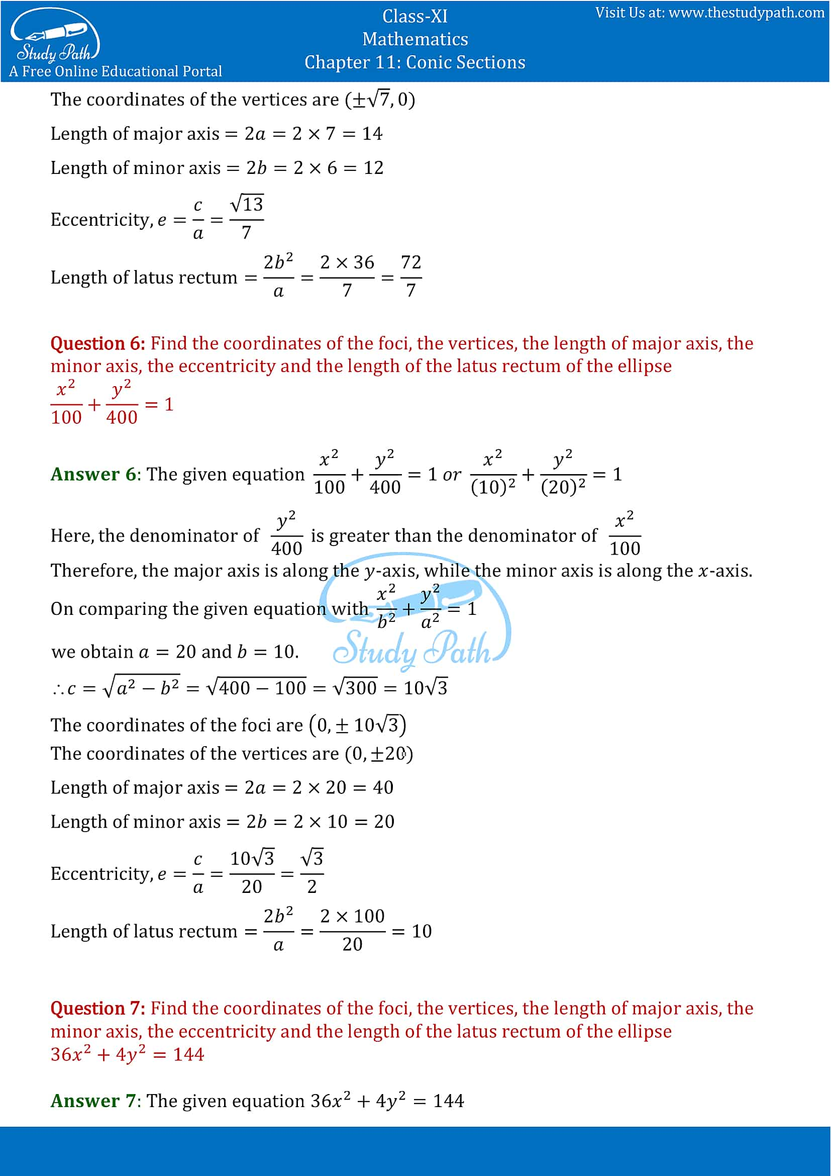 NCERT Solutions for Class 11 Maths chapter 11 Conic Section Exercise 11.3 Part-4