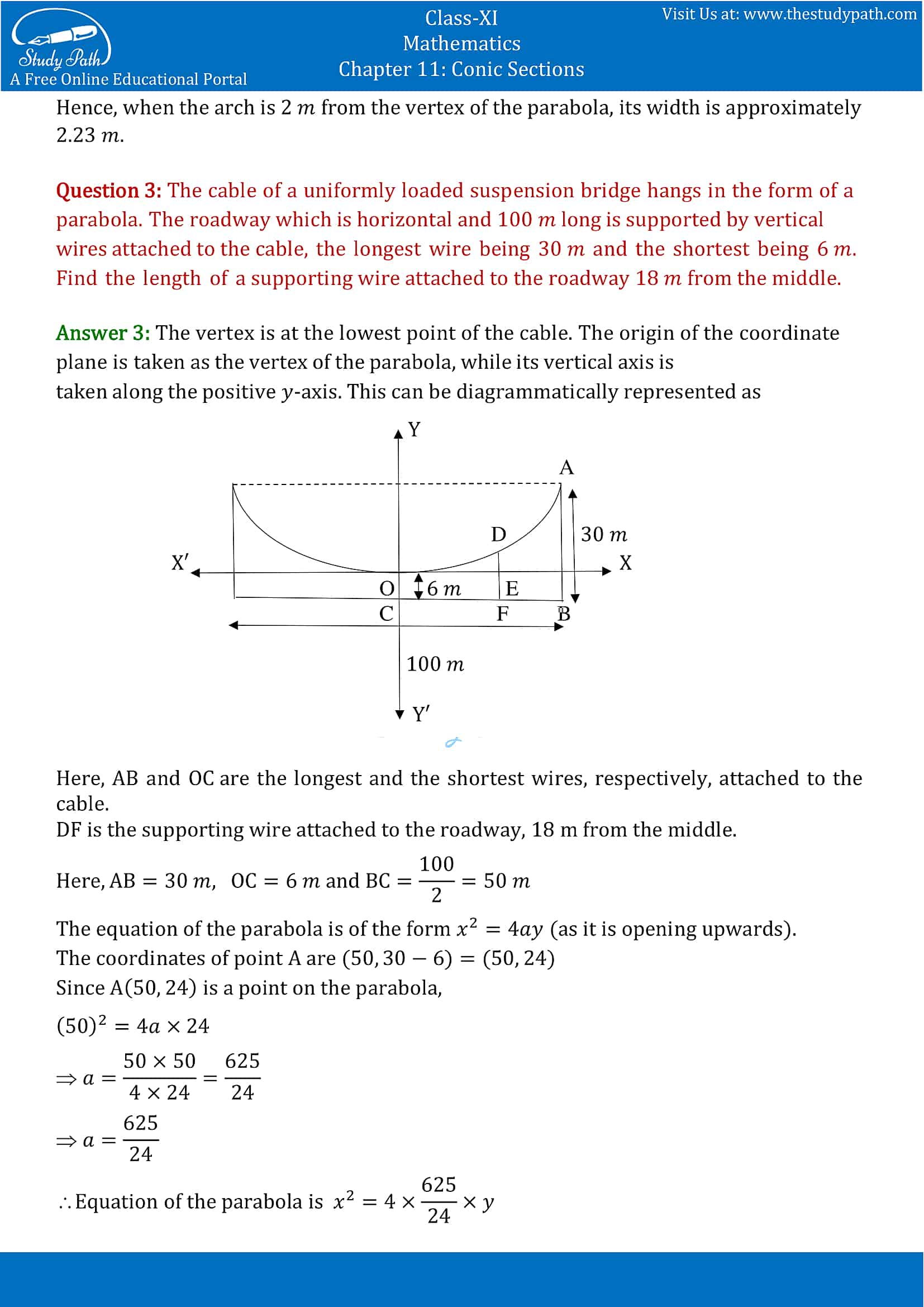 NCERT Solutions for Class 11 Maths chapter 11 Conic Section Miscellaneous Exercise Part-3