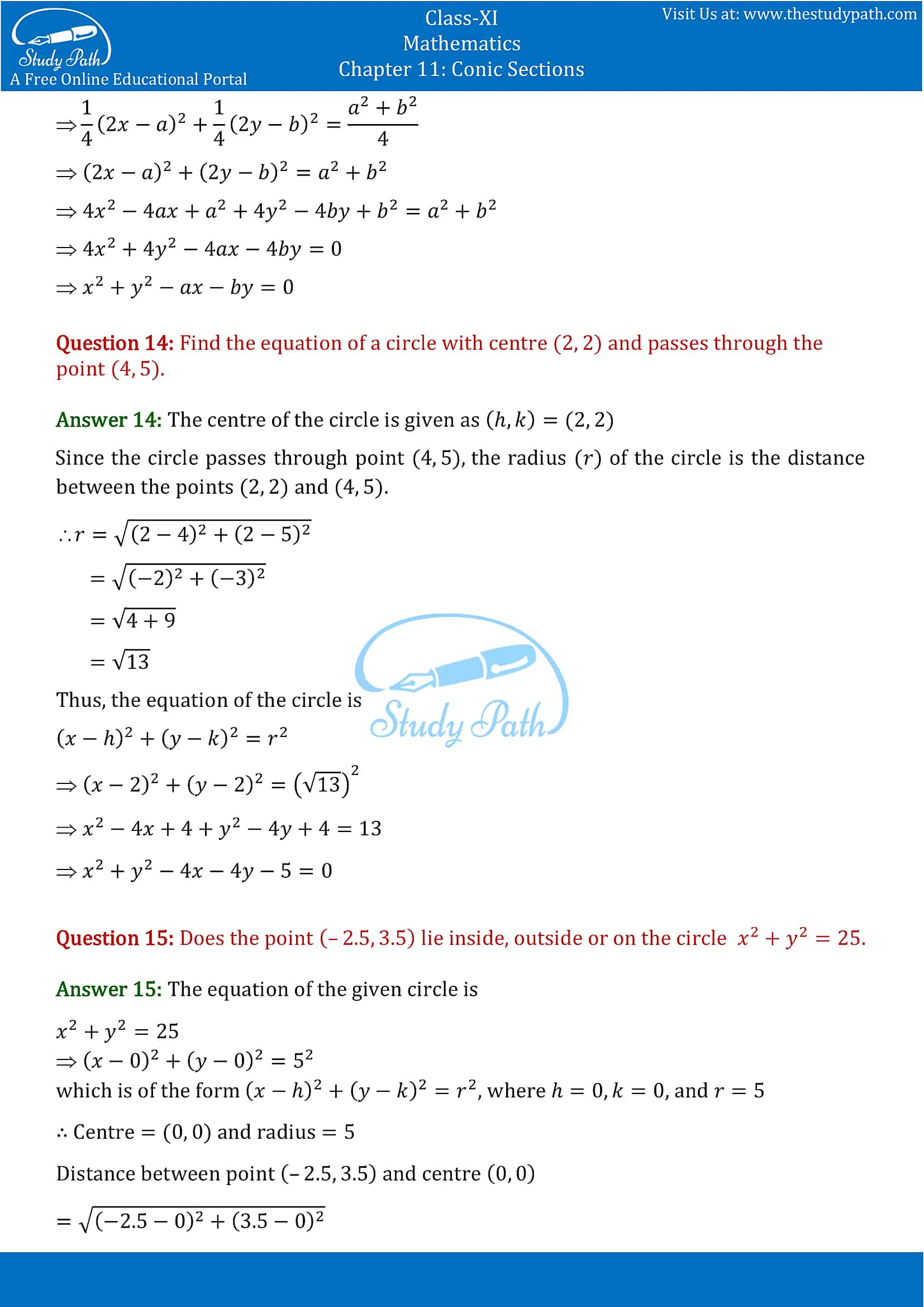 NCERT Solutions for Class 11 Maths chapter 11 Conic Section Part-8