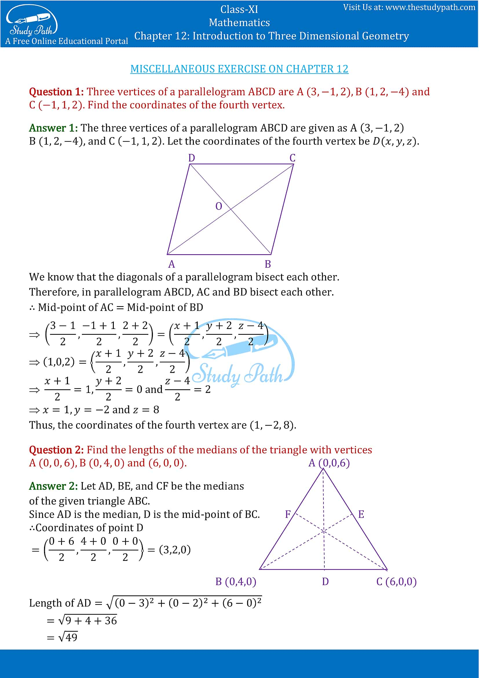 NCERT Solutions for Class 11 Maths chapter 12 Introduction to Three Dimensional Geometry Part-10