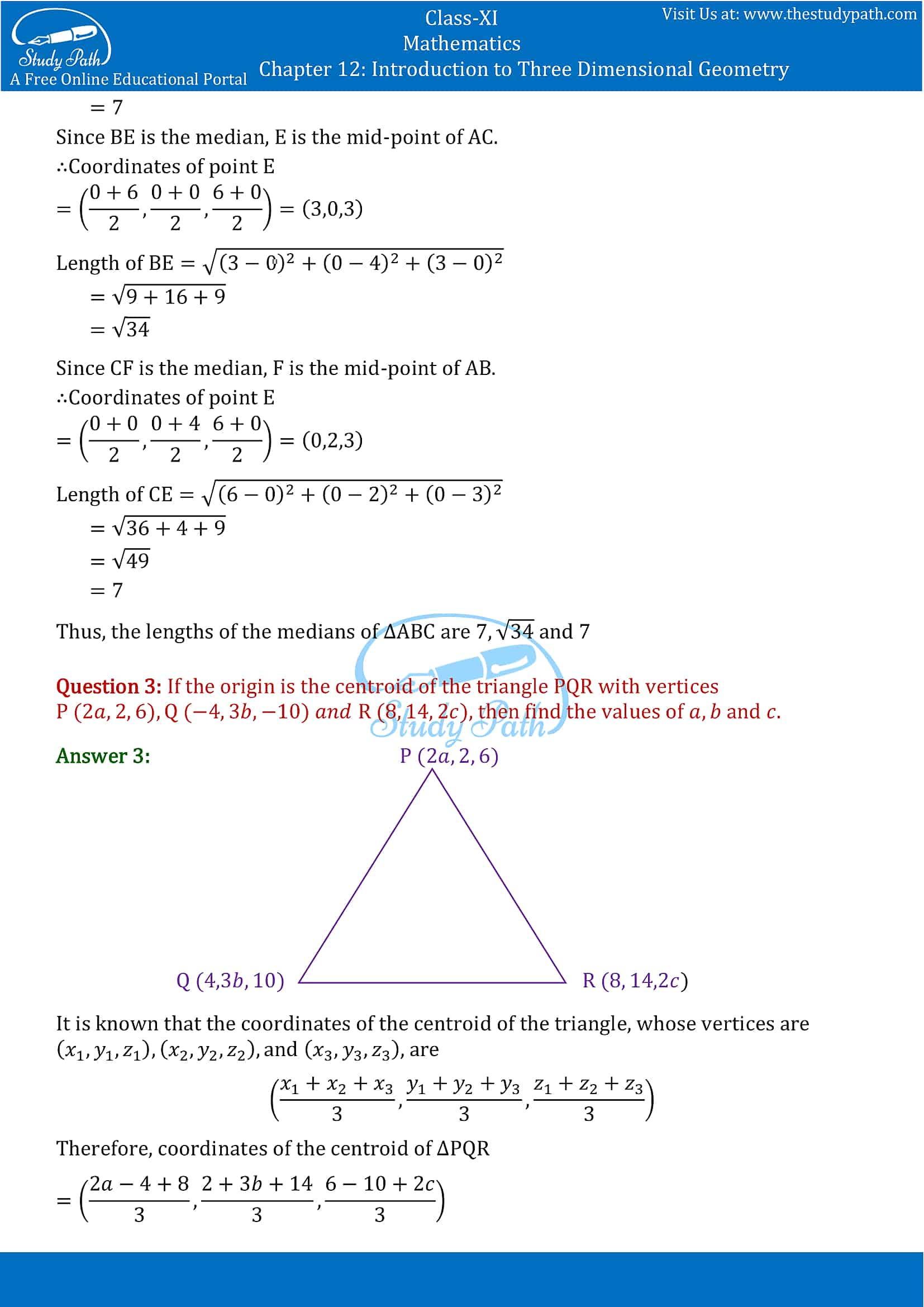 NCERT Solutions for Class 11 Maths chapter 12 Introduction to Three Dimensional Geometry Part-11