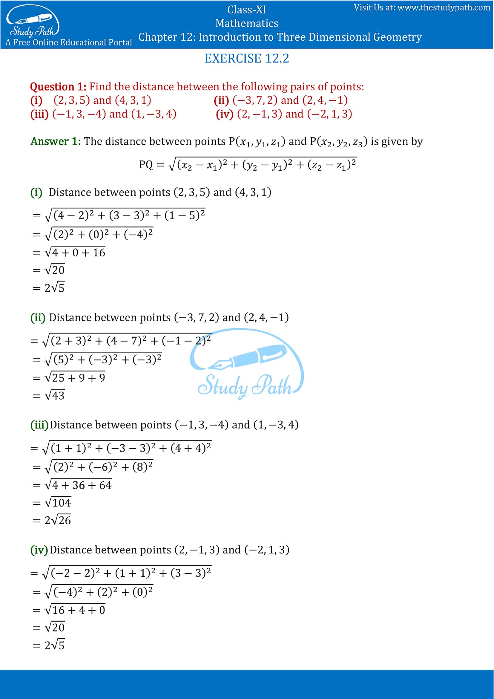 NCERT Solutions for Class 11 Maths chapter 12 Introduction to Three Dimensional Geometry Part-2