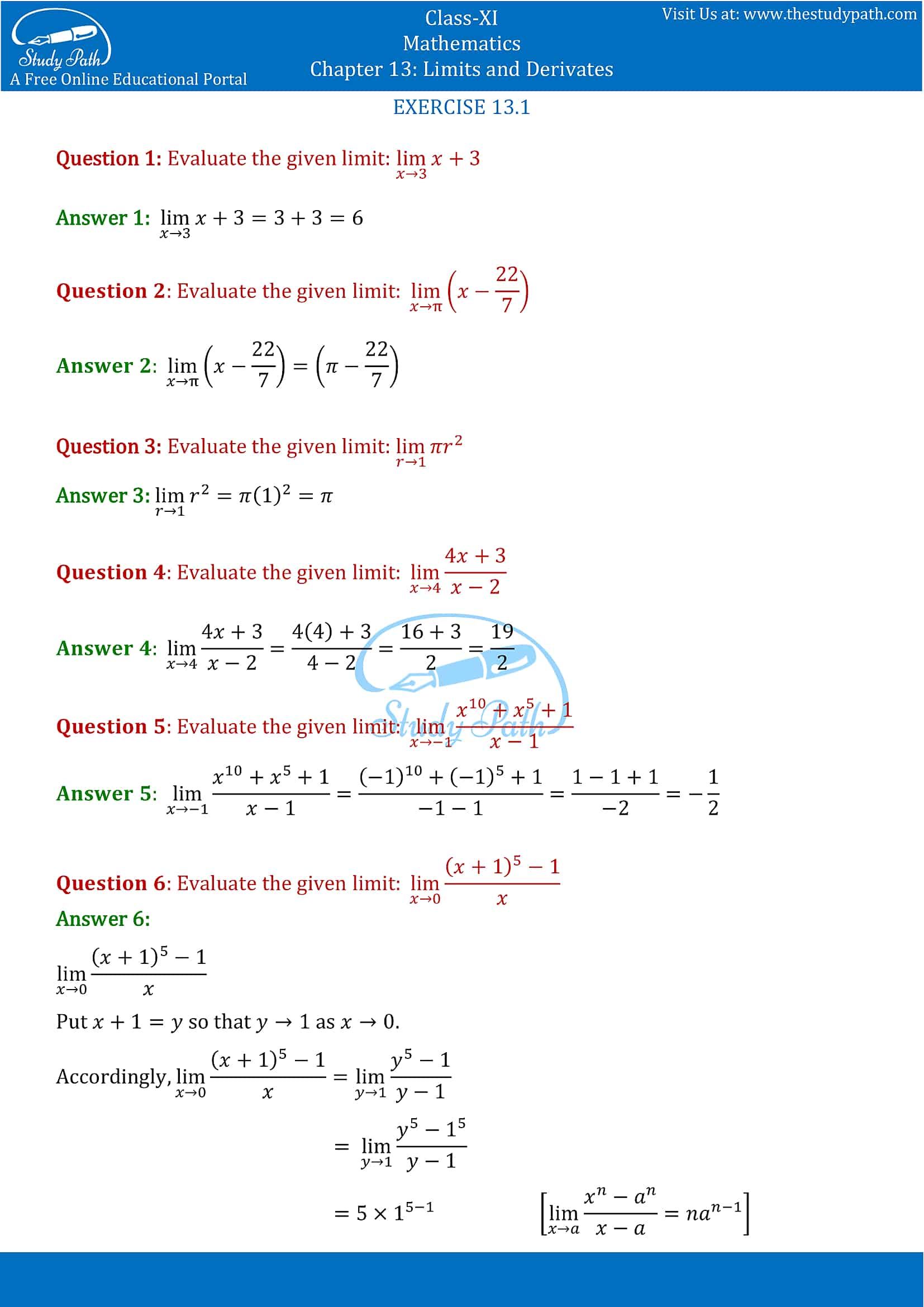 NCERT Solutions for Class 11 Maths chapter 13 Limits and Derivatives Exercise 13.1 Part-1