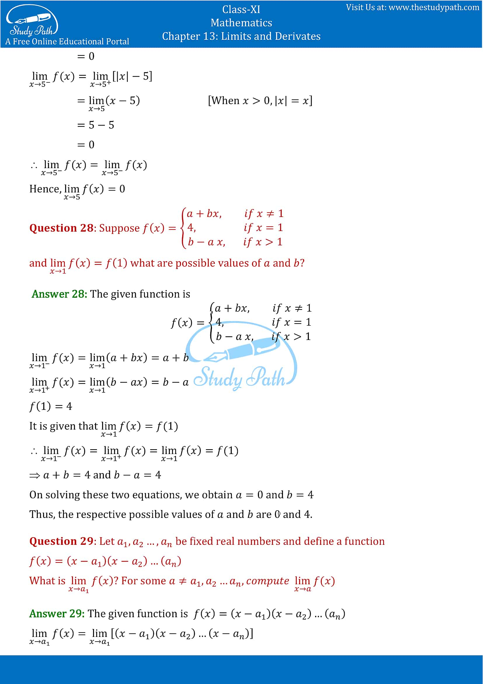 NCERT Solutions for Class 11 Maths chapter 13 Limits and Derivatives Exercise 13.1 Part-11