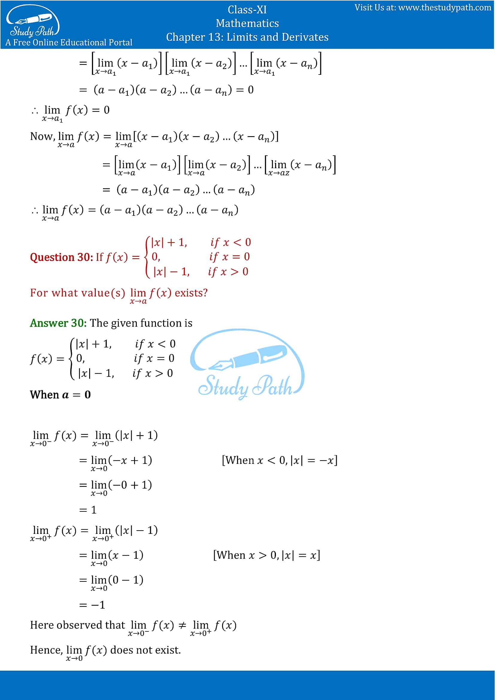 NCERT Solutions for Class 11 Maths chapter 13 Limits and Derivatives Exercise 13.1 Part-12