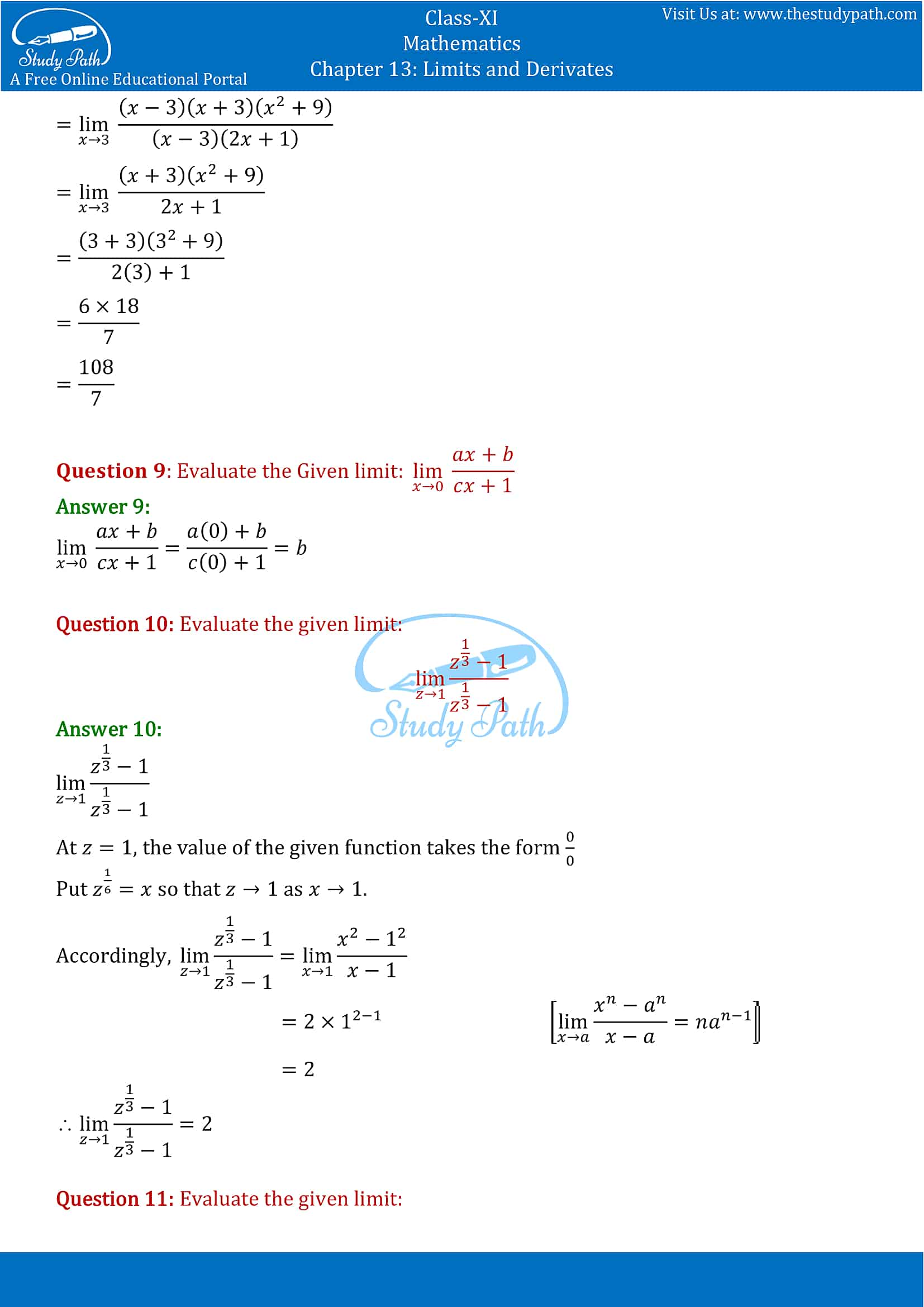 NCERT Solutions for Class 11 Maths chapter 13 Limits and Derivatives Exercise 13.1 Part-3