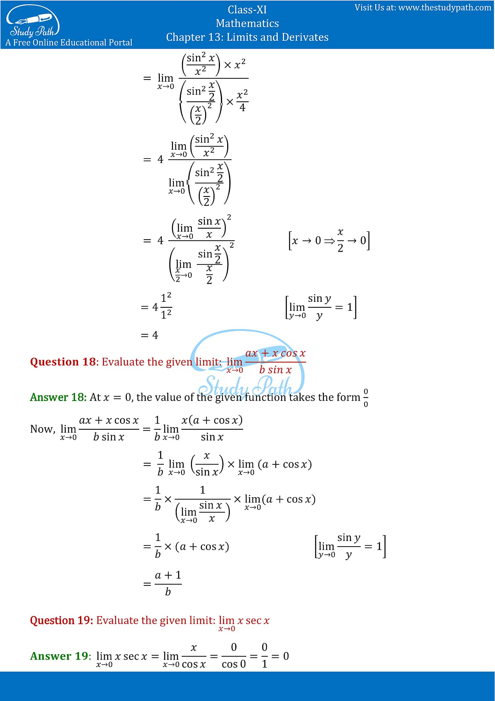 NCERT Solutions for Class 11 Maths chapter 13 Limits and Derivatives Exercise 13.1 Part-6