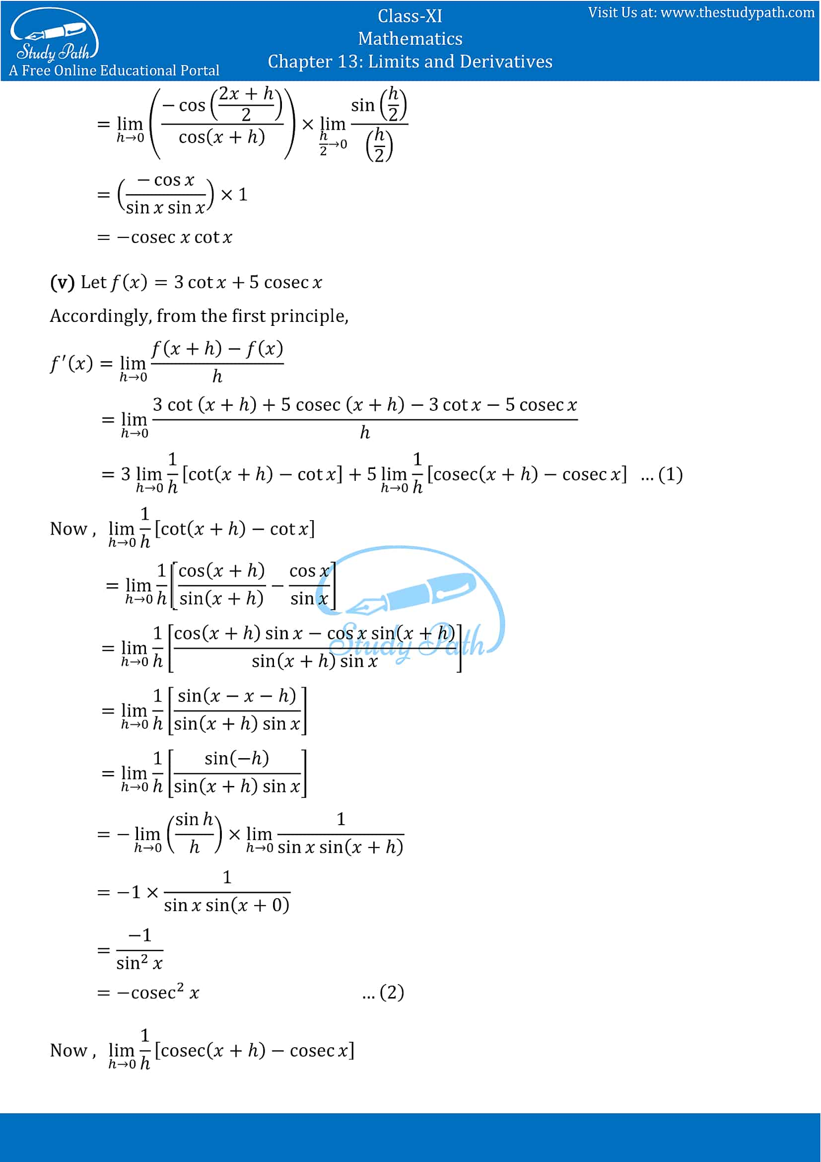 NCERT Solutions for Class 11 Maths chapter 13 Limits and Derivatives Exercise 13.2 Part-13