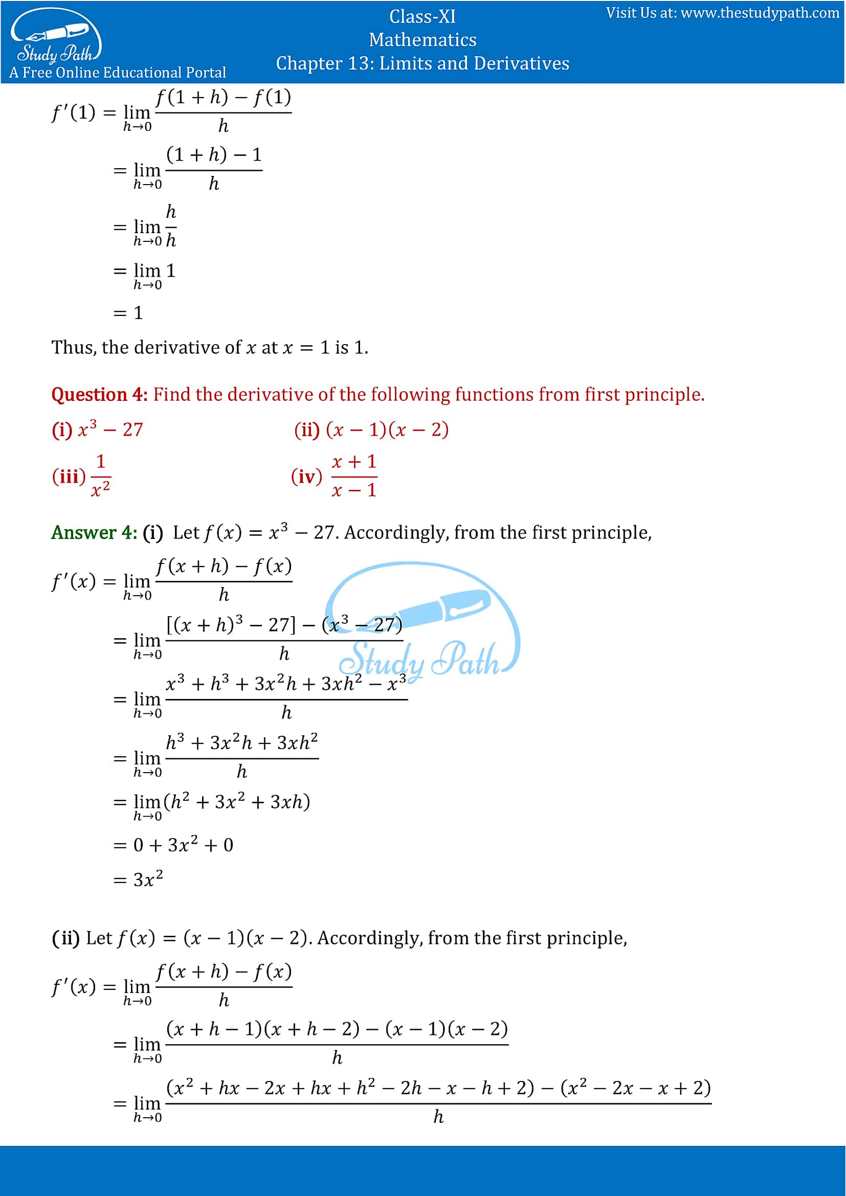 NCERT Solutions for Class 11 Maths chapter 13 Limits and Derivatives Exercise 13.2 Part-2