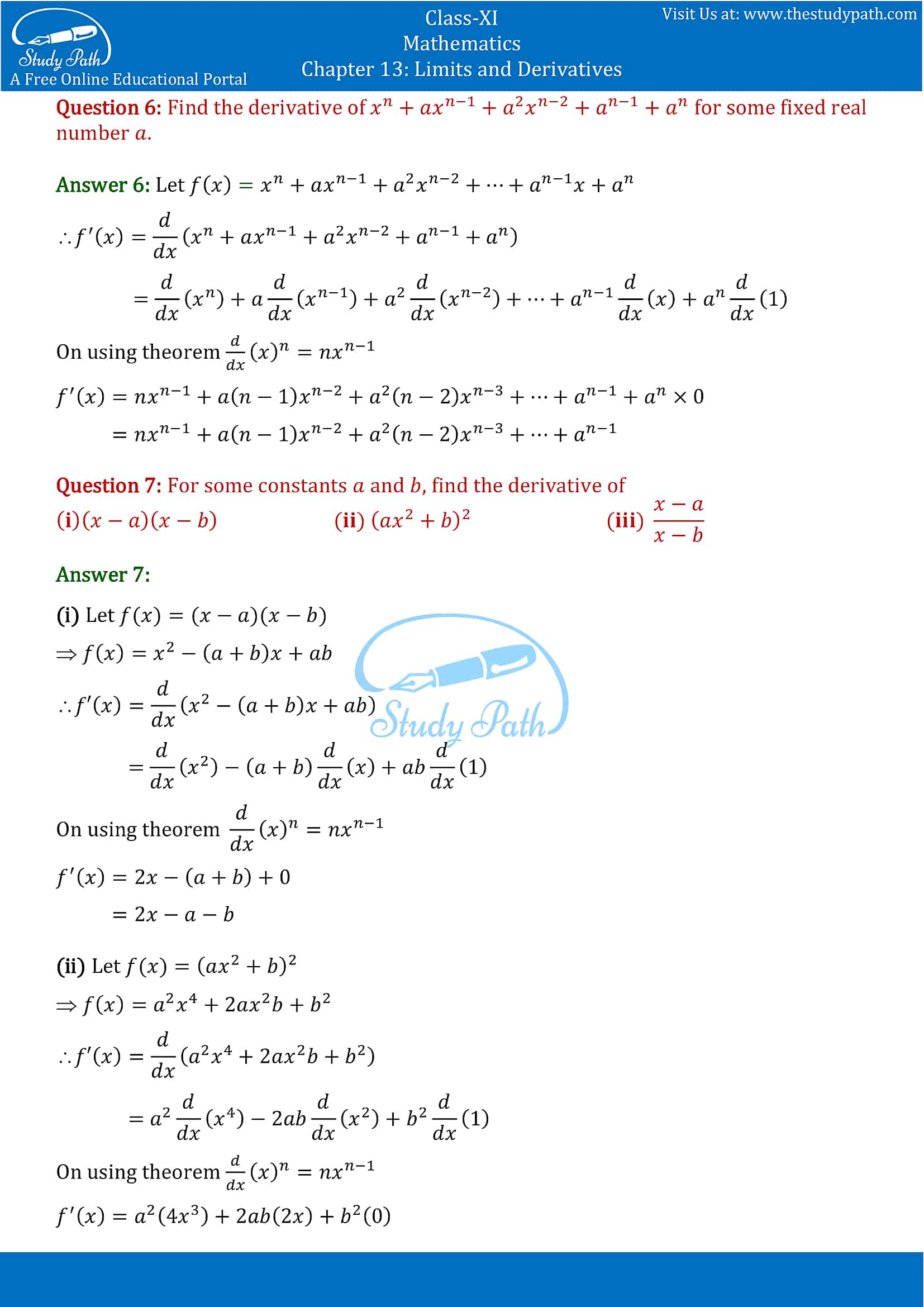 NCERT Solutions for Class 11 Maths chapter 13 Limits and Derivatives Exercise 13.2 Part-5