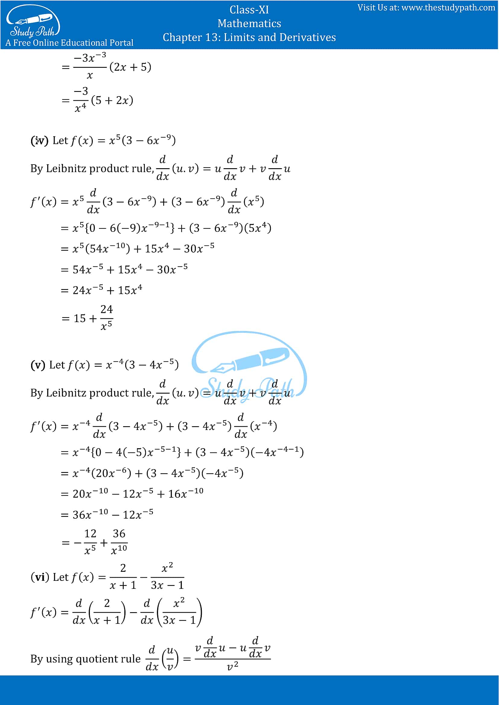 NCERT Solutions for Class 11 Maths chapter 13 Limits and Derivatives Exercise 13.2 Part-8