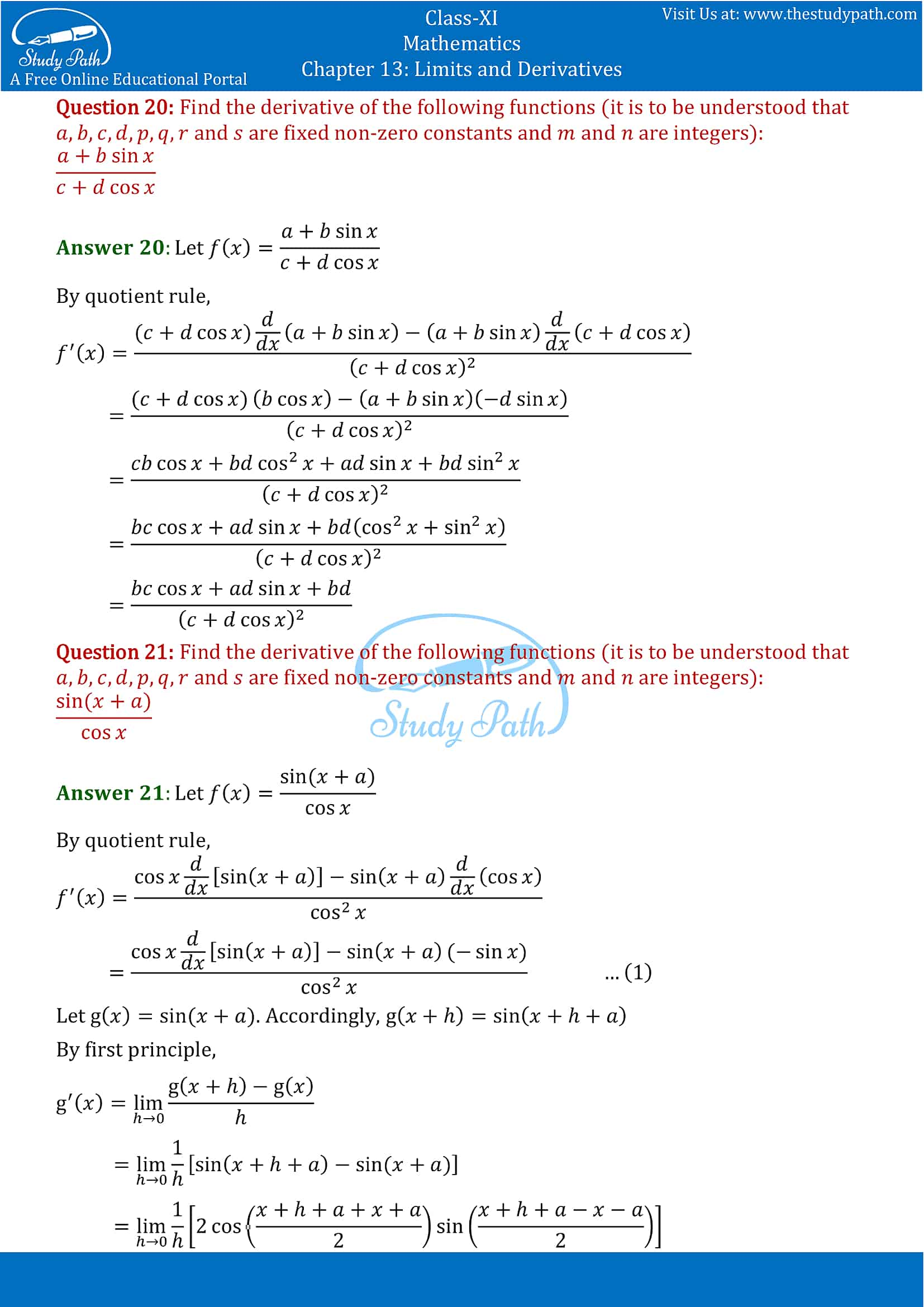 NCERT Solutions for Class 11 Maths chapter 13 Limits and Derivatives Miscellaneous Exercise Part-15
