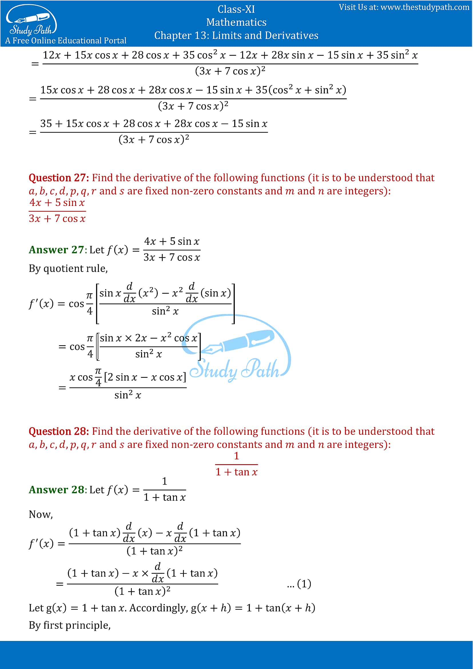 NCERT Solutions for Class 11 Maths chapter 13 Limits and Derivatives Miscellaneous Exercise Part-19