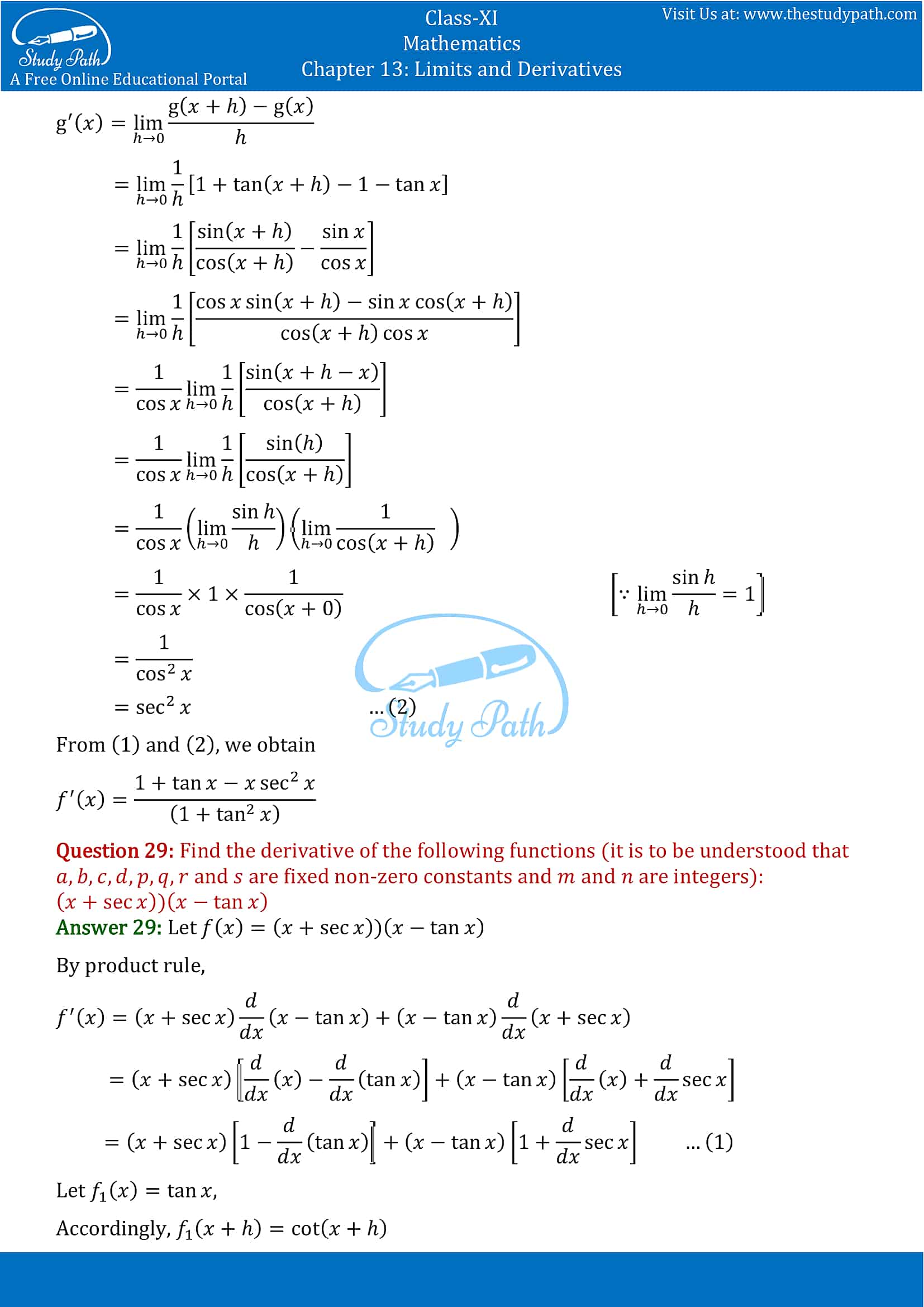 NCERT Solutions for Class 11 Maths chapter 13 Limits and Derivatives Miscellaneous Exercise Part-20