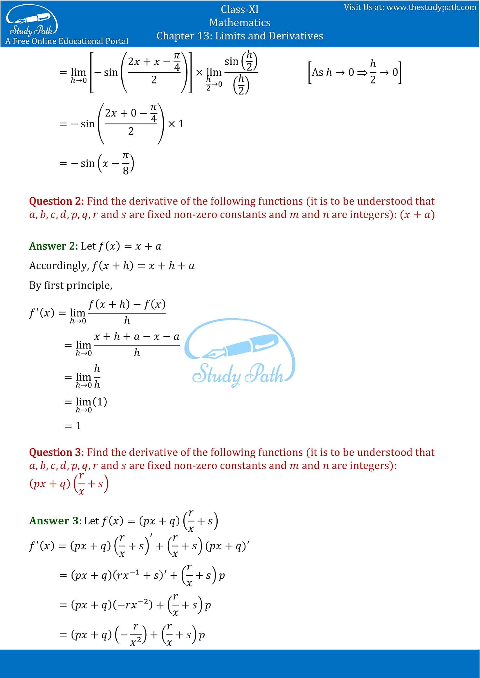 NCERT Solutions for Class 11 Maths chapter 13 Limits and Derivatives Miscellaneous Exercise Part-3