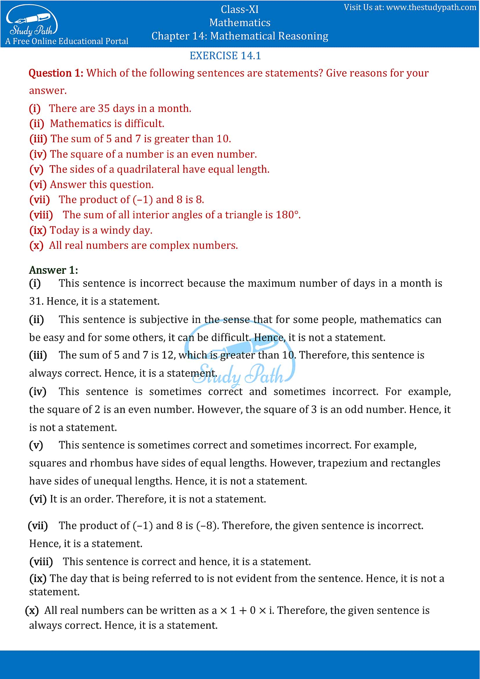 NCERT Solutions for Class 11 Maths chapter 14 Mathematical Reasoning Part 1