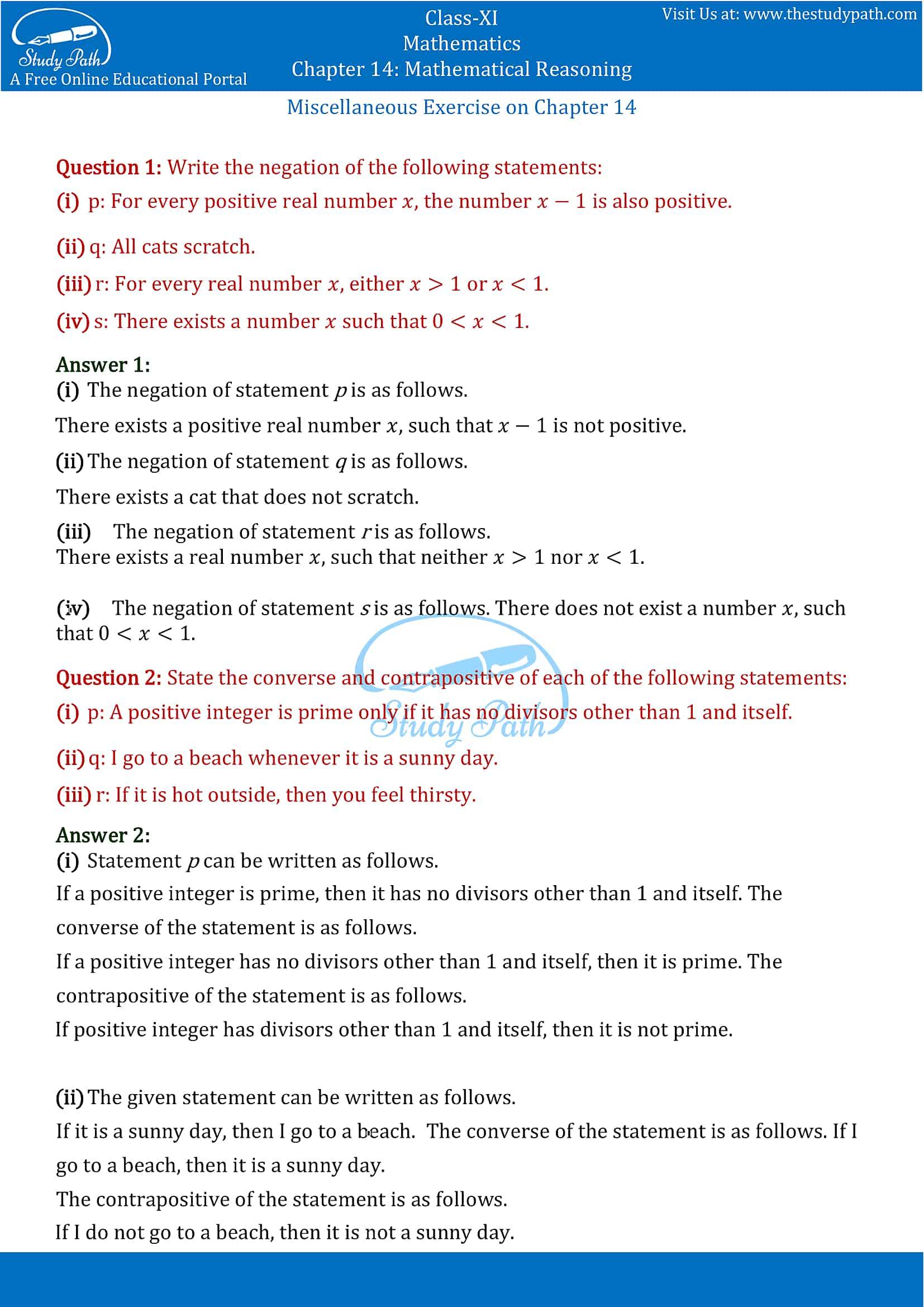NCERT Solutions for Class 11 Maths Chapter 14 Mathematical Reasoning Part 13