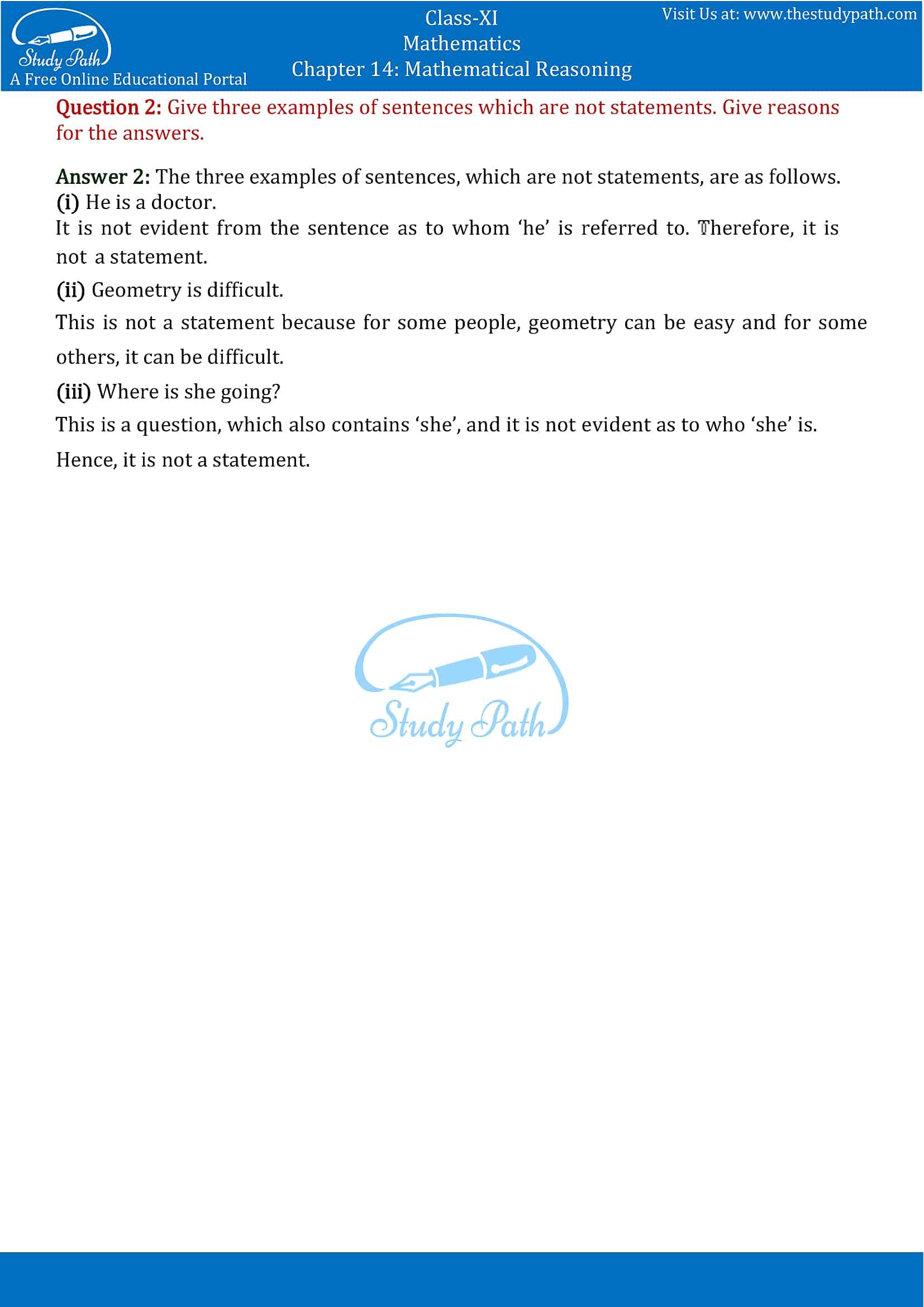 NCERT Solutions for Class 11 Maths chapter 14 Mathematical Reasoning Part 2