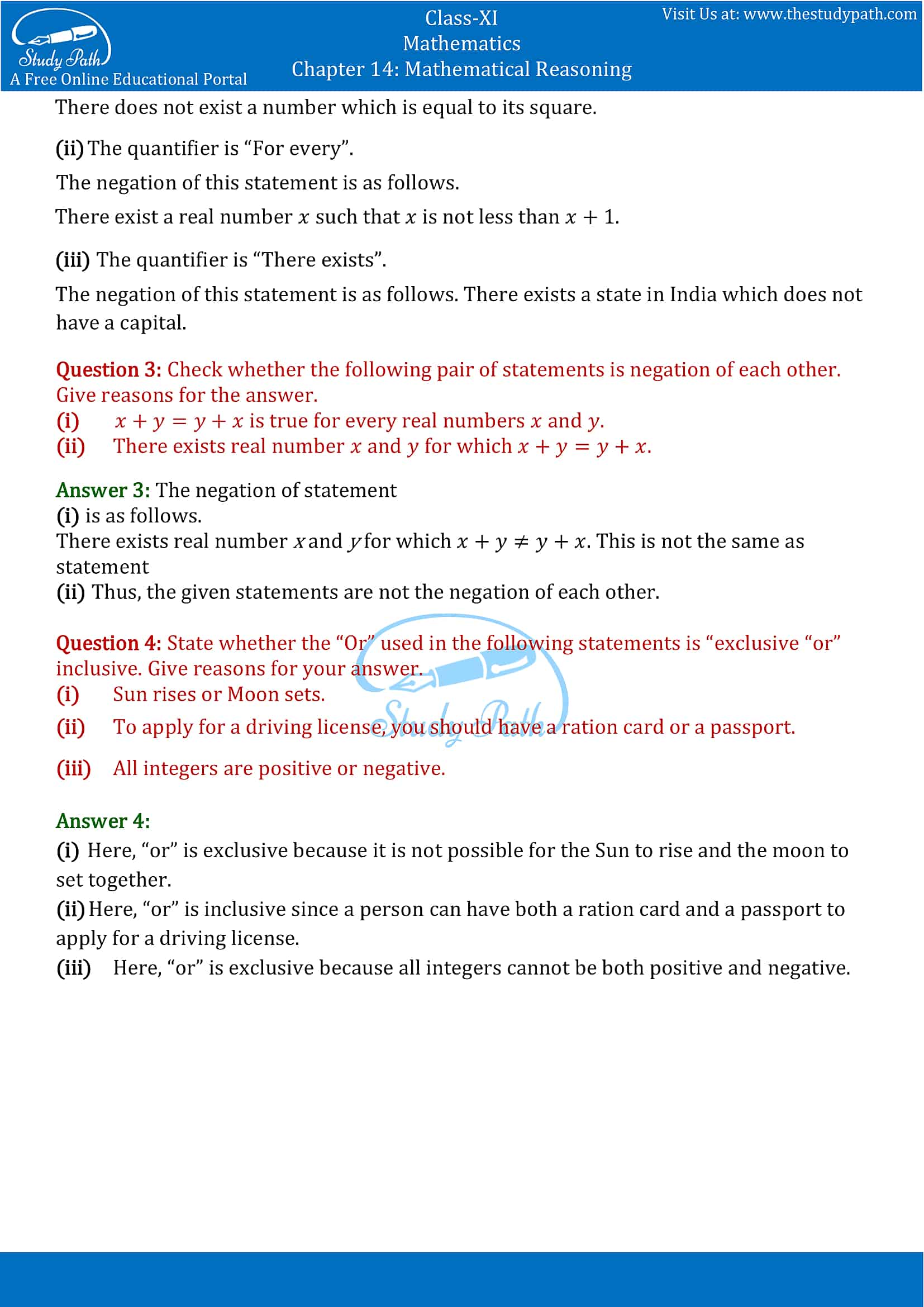 NCERT Solutions for Class 11 Maths Chapter 14 Mathematical Reasoning Part 6