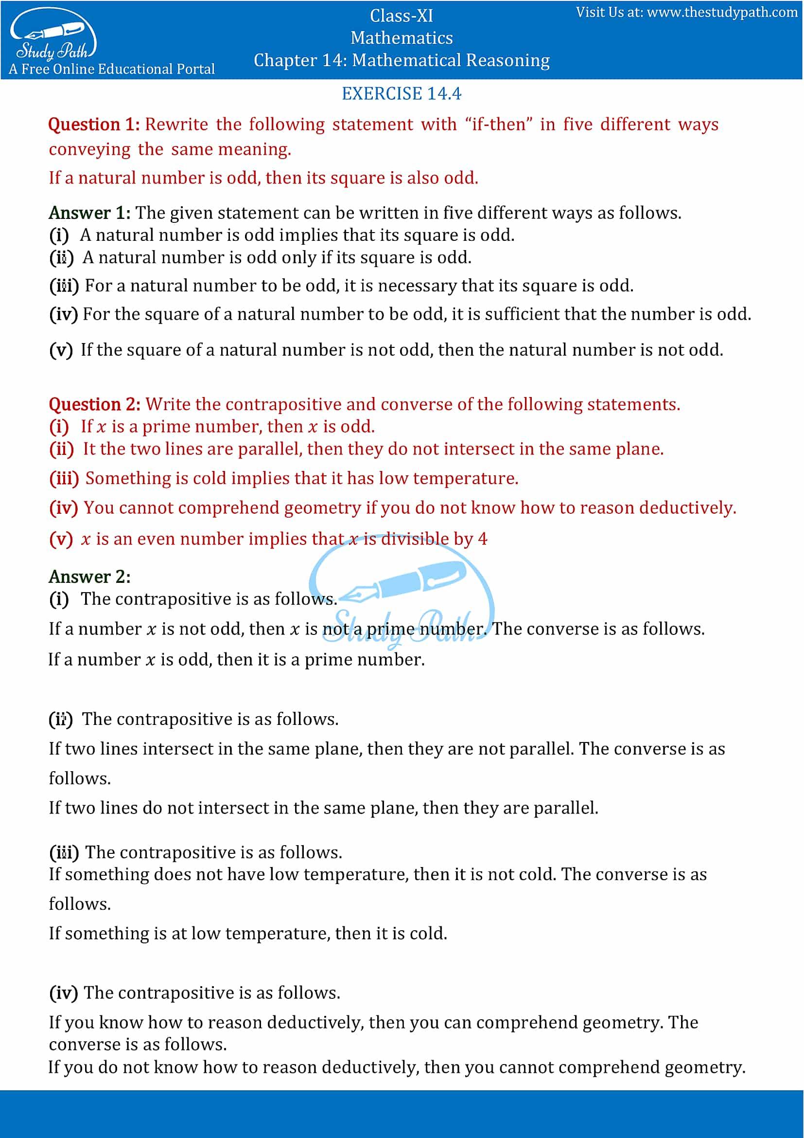 NCERT Solutions for Class 11 Maths Chapter 14 Mathematical Reasoning Part 7
