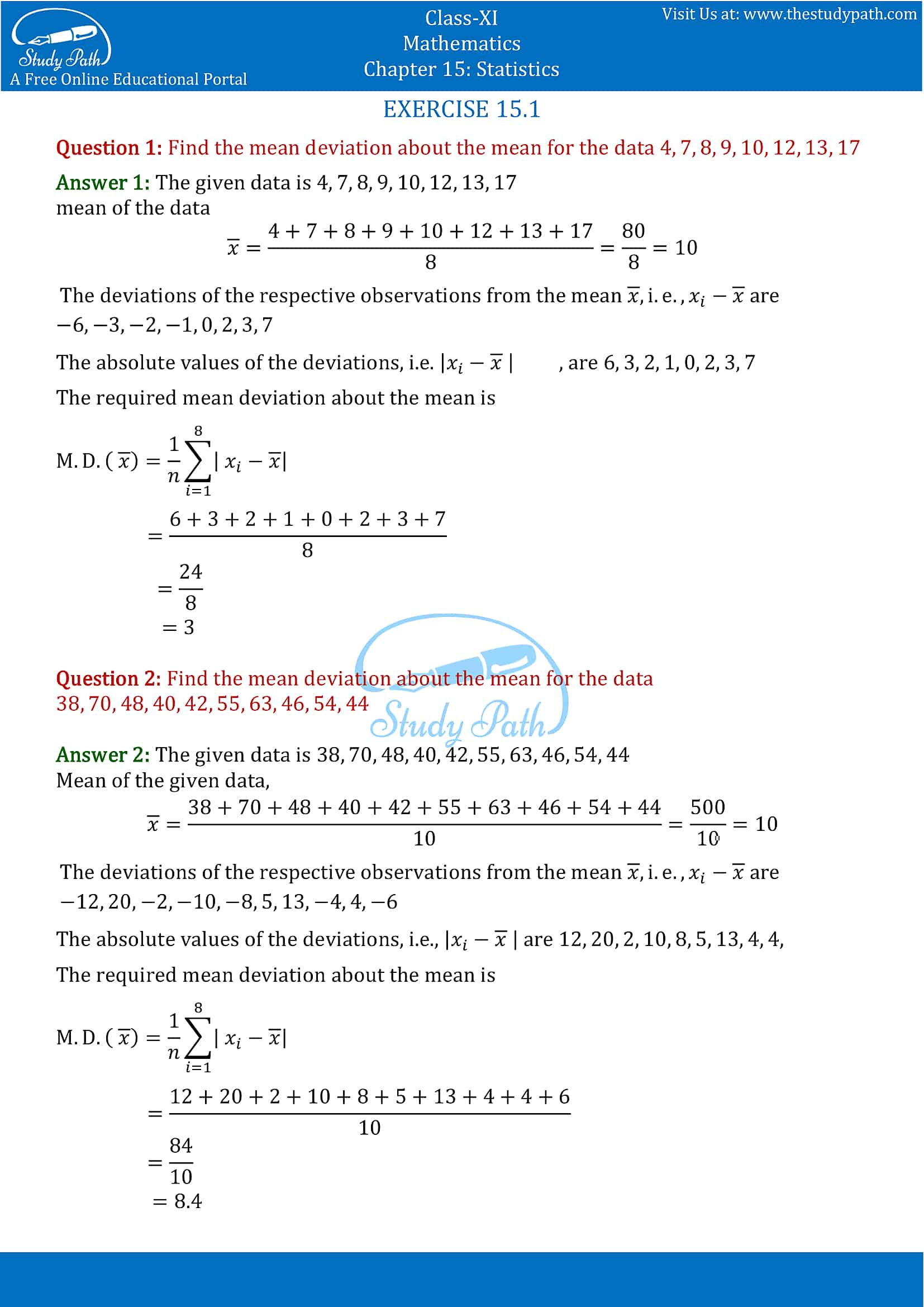 NCERT Solutions for Class 11 Maths chapter 15 Statistics Exercise 15.1 part-1