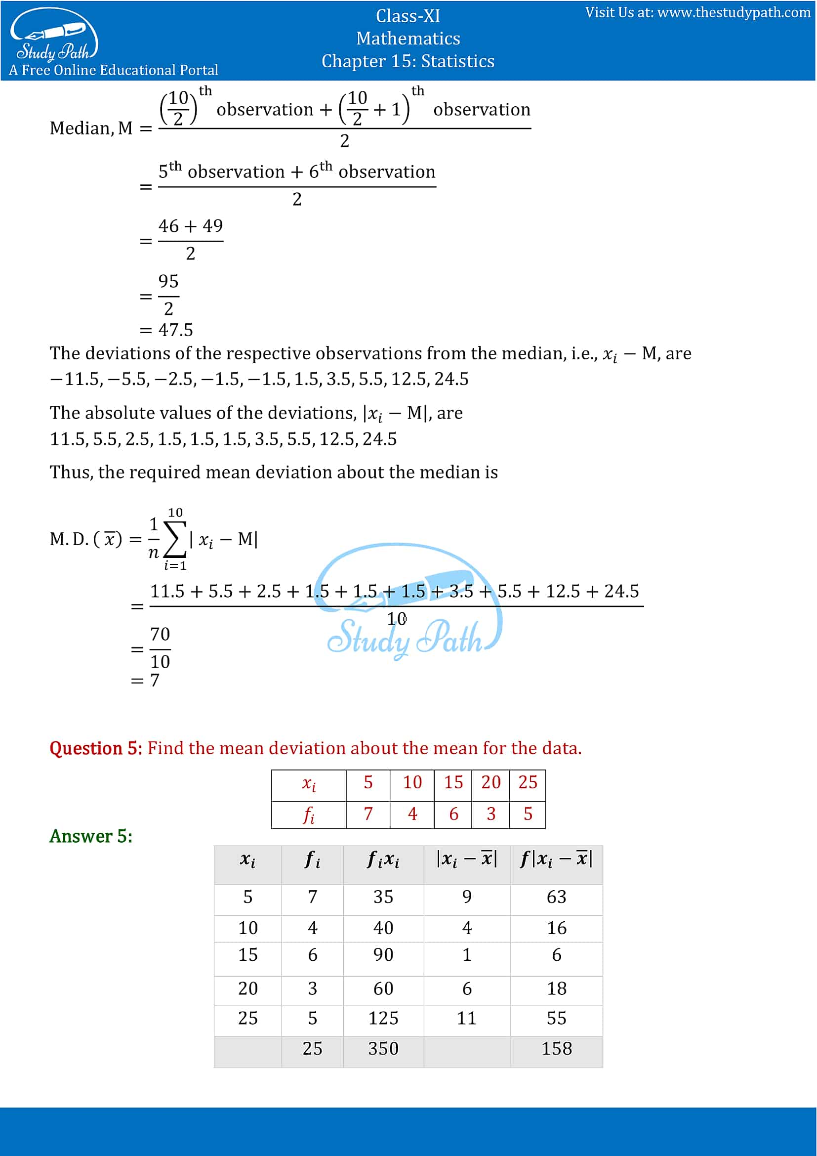 NCERT Solutions for Class 11 Maths chapter 15 Statistics Exercise 15.1 part-3