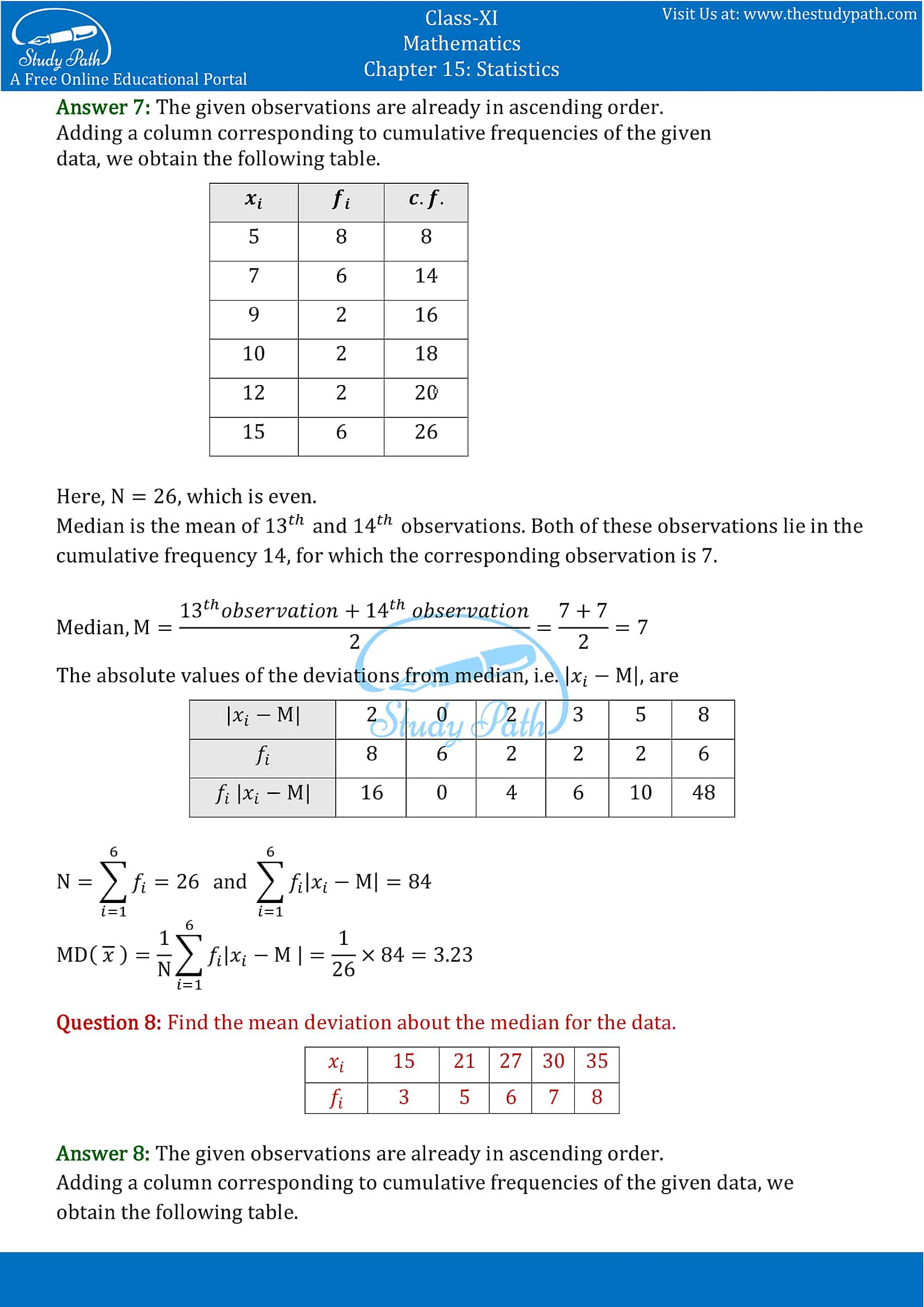 NCERT Solutions for Class 11 Maths chapter 15 Statistics Exercise 15.1 part-5