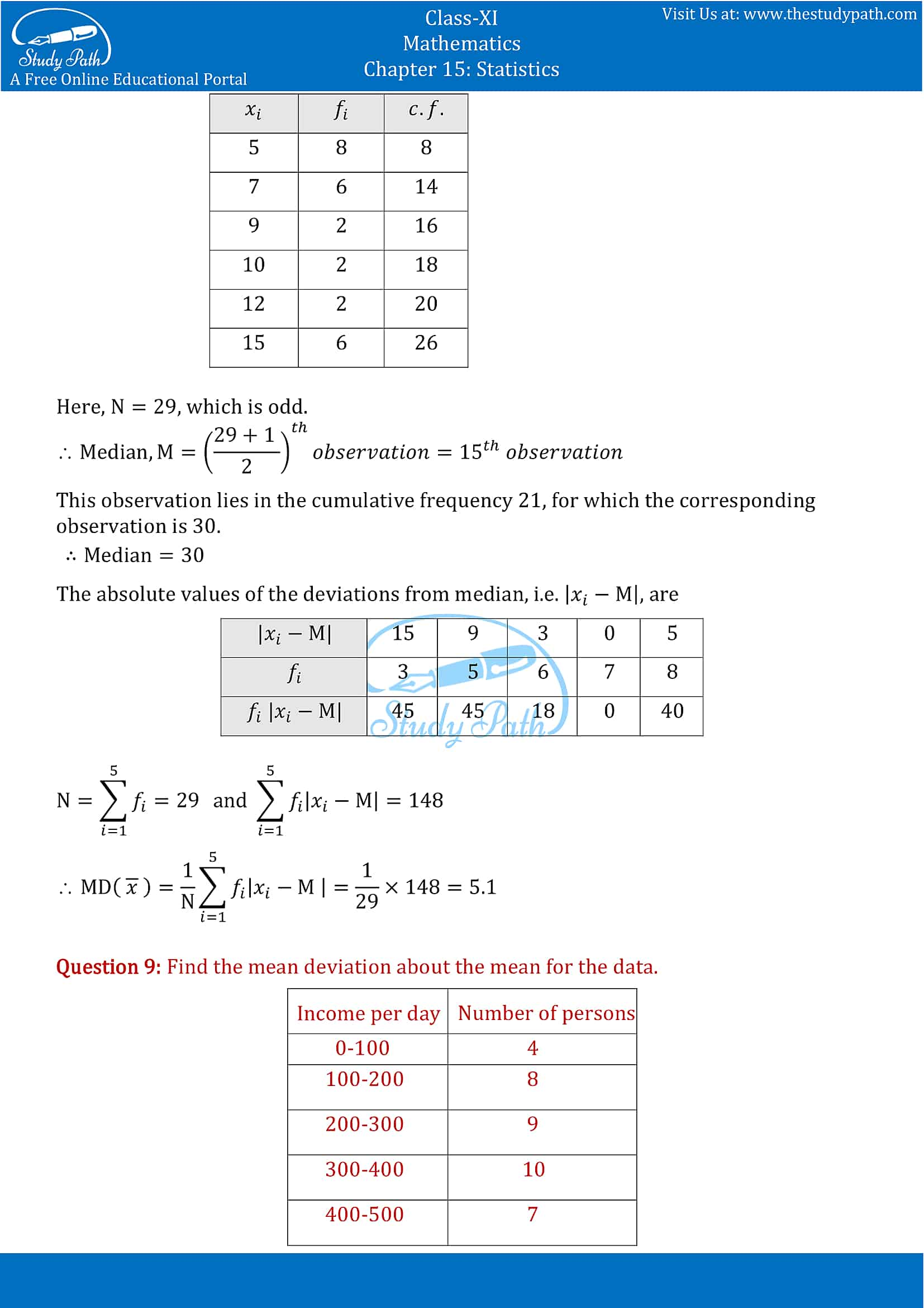 NCERT Solutions for Class 11 Maths chapter 15 Statistics Exercise 15.1 part-6