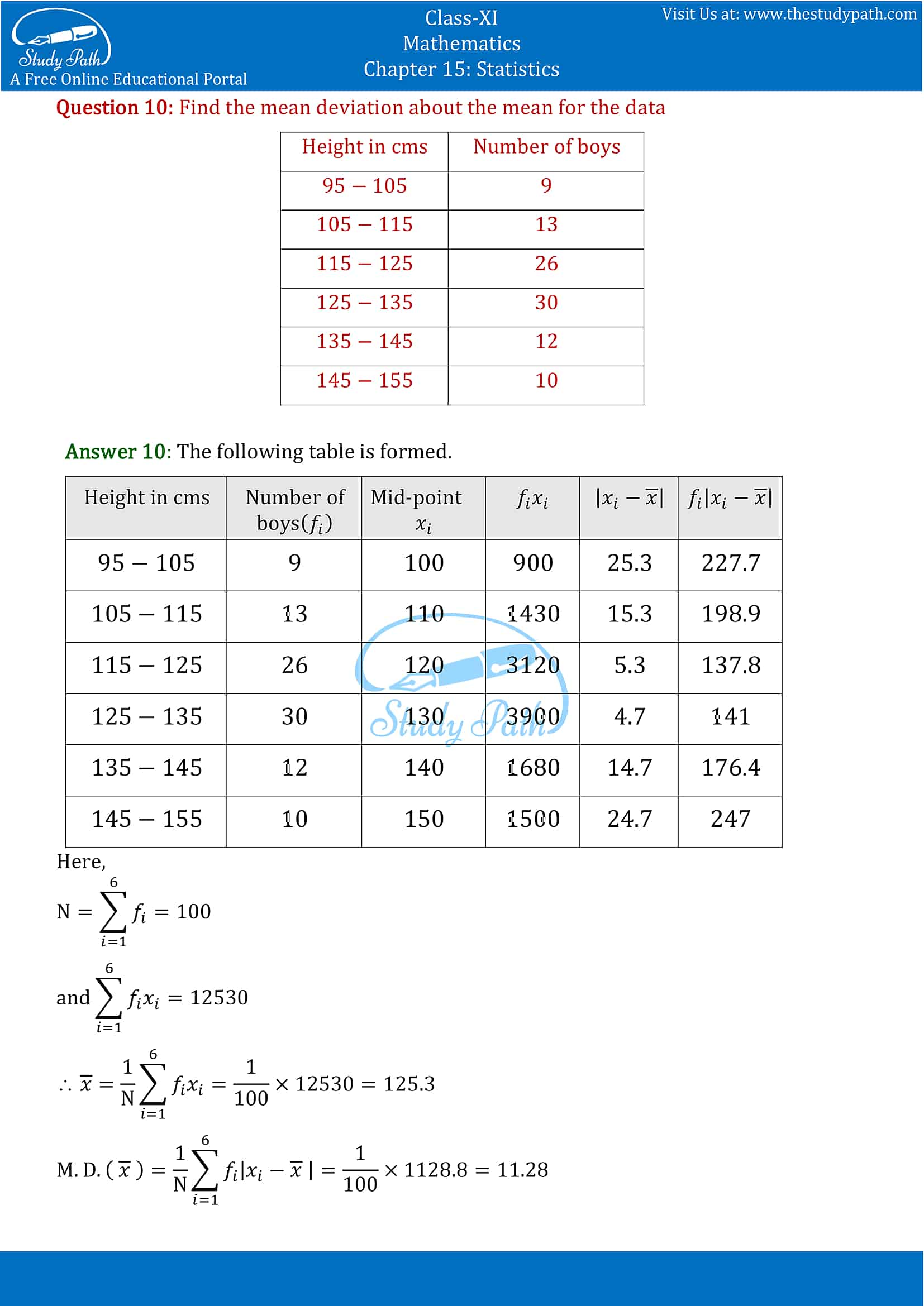 NCERT Solutions for Class 11 Maths chapter 15 Statistics Exercise 15.1 part-8