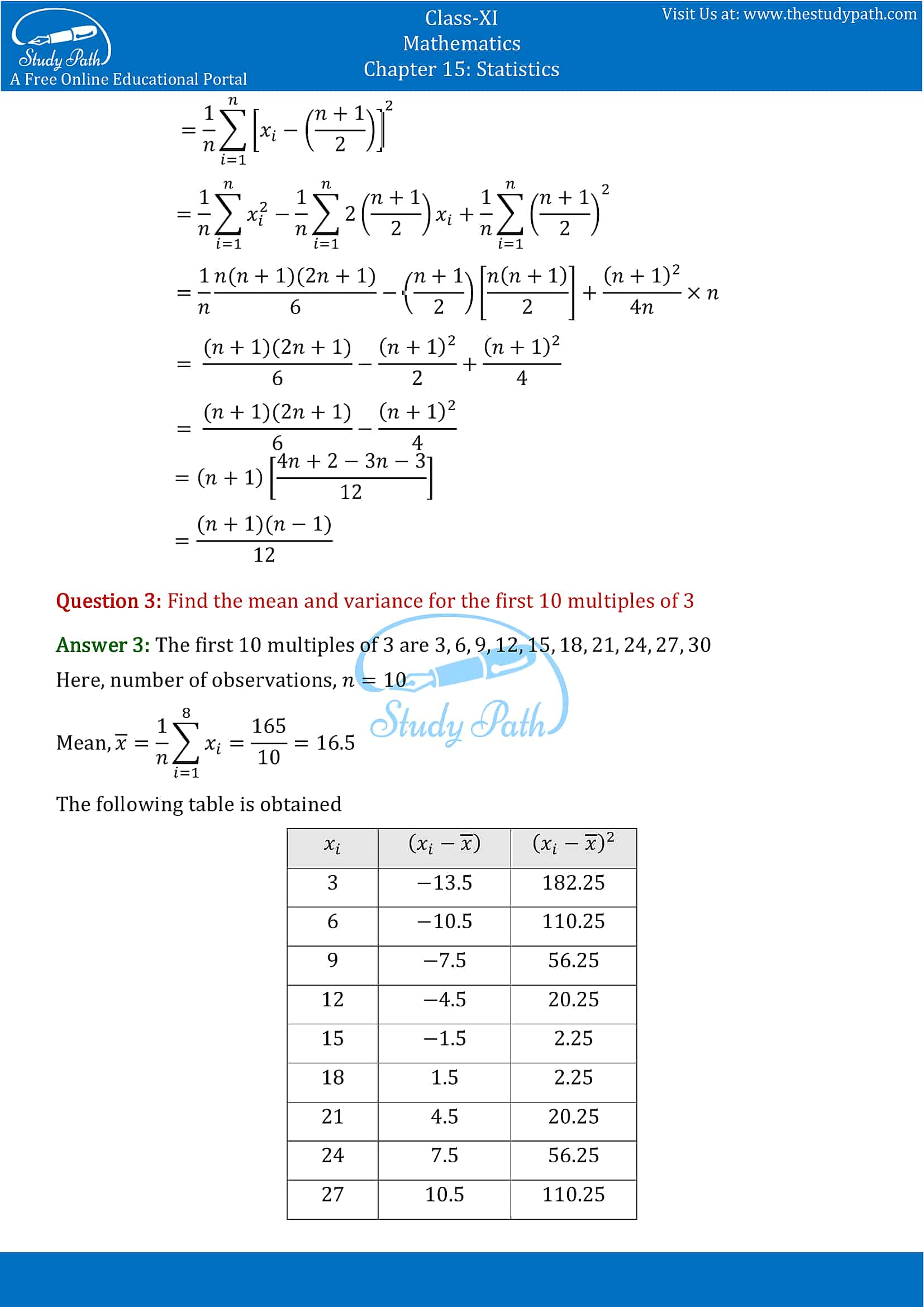 NCERT Solutions for Class 11 Maths chapter 15 Statistics Exercise 15.2 part-2