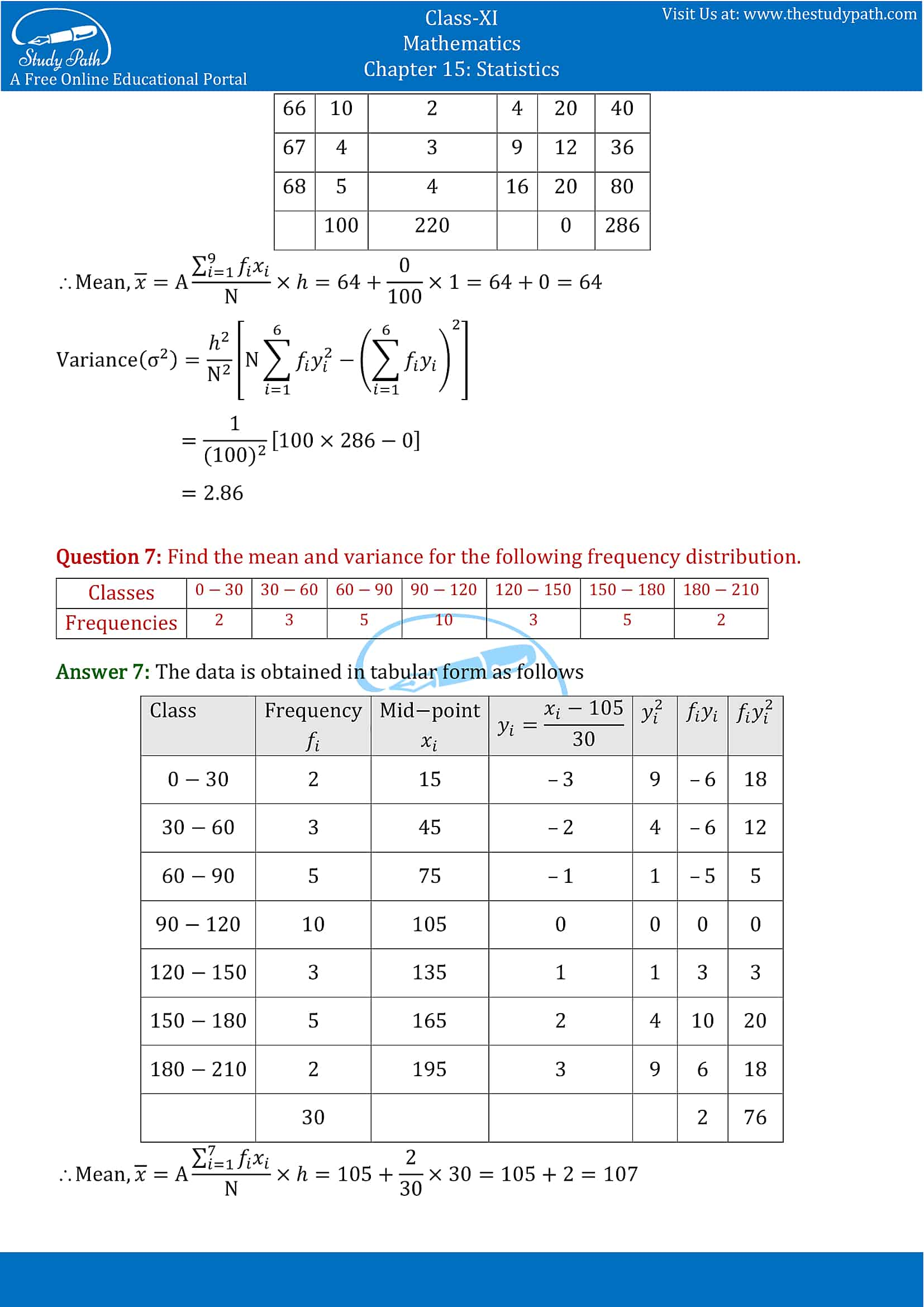 NCERT Solutions for Class 11 Maths chapter 15 Statistics Exercise 15.2 part-5
