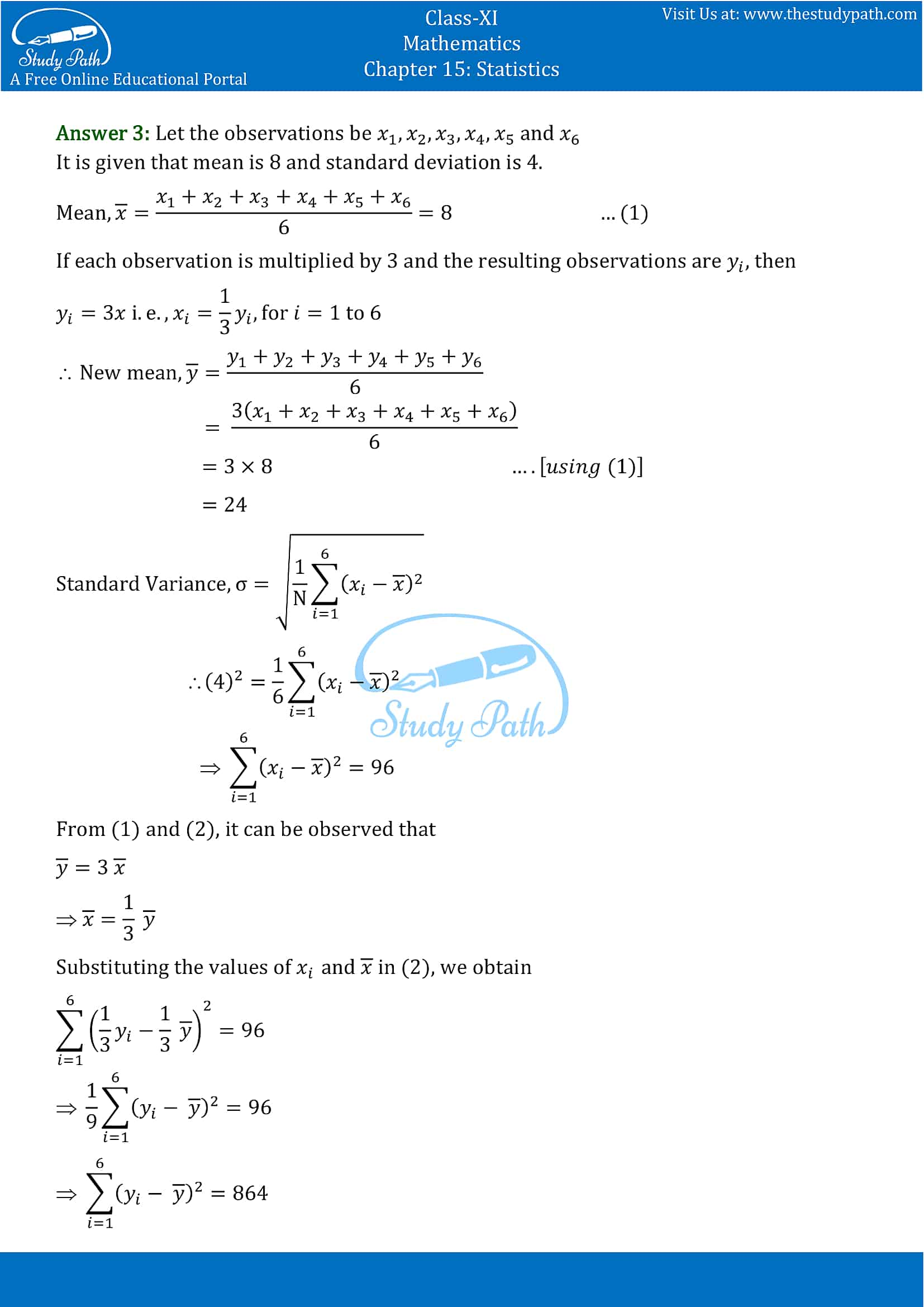 NCERT Solutions for Class 11 Maths chapter 15 Statistics Miscellaneous Exercise part-3