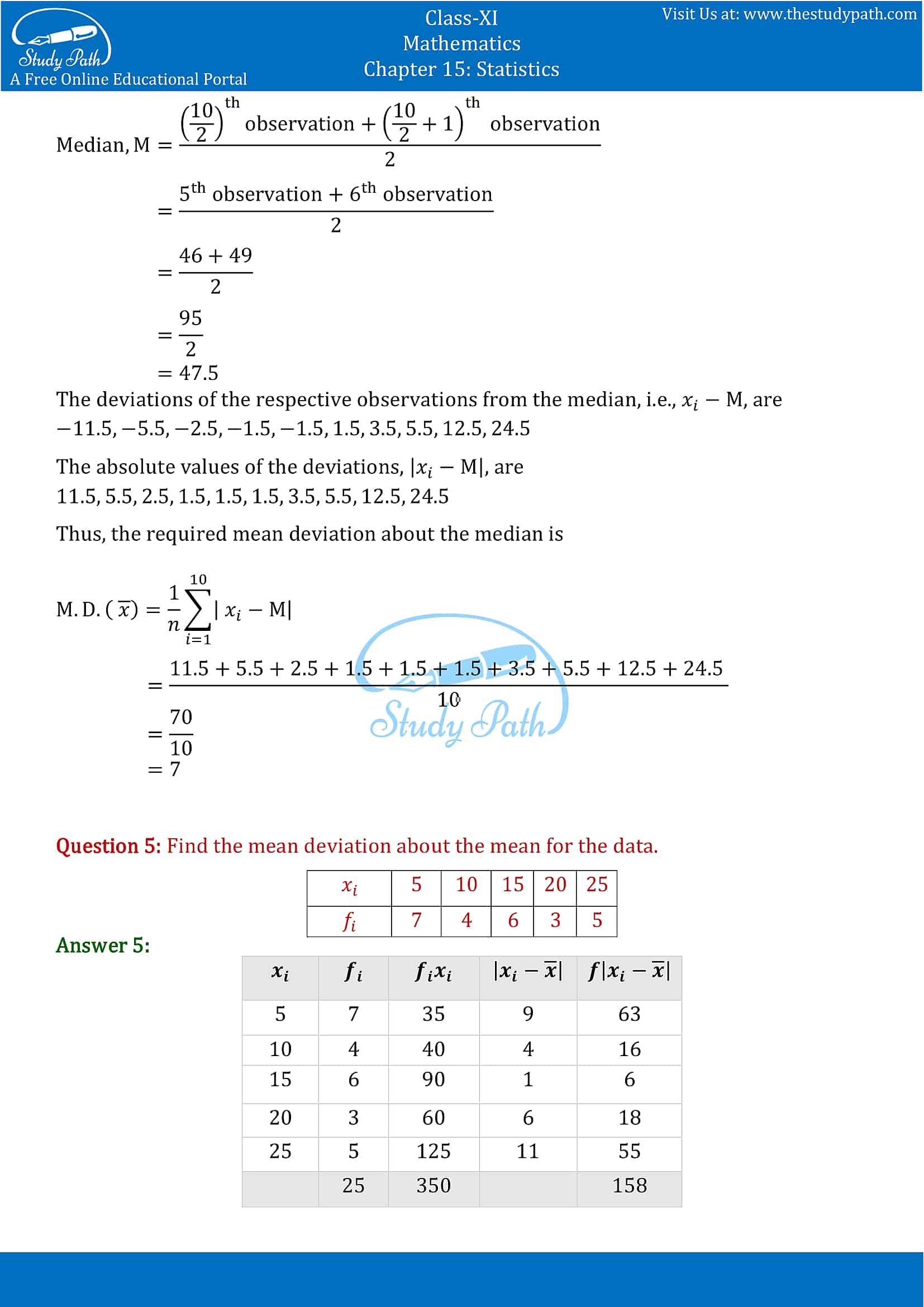 NCERT Solutions for Class 11 Maths chapter 15 Statistics part-3