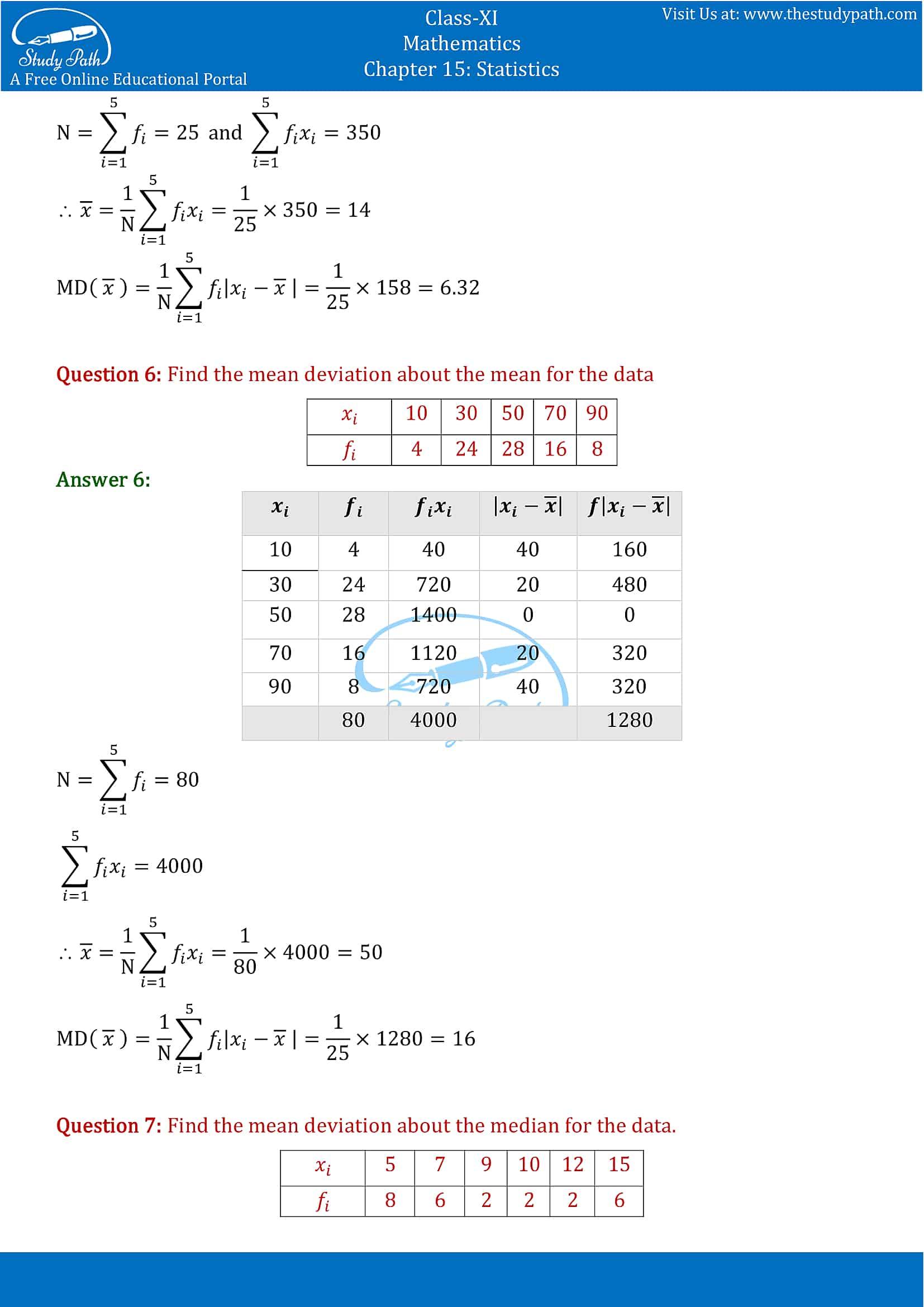 NCERT Solutions for Class 11 Maths chapter 15 Statistics part-4