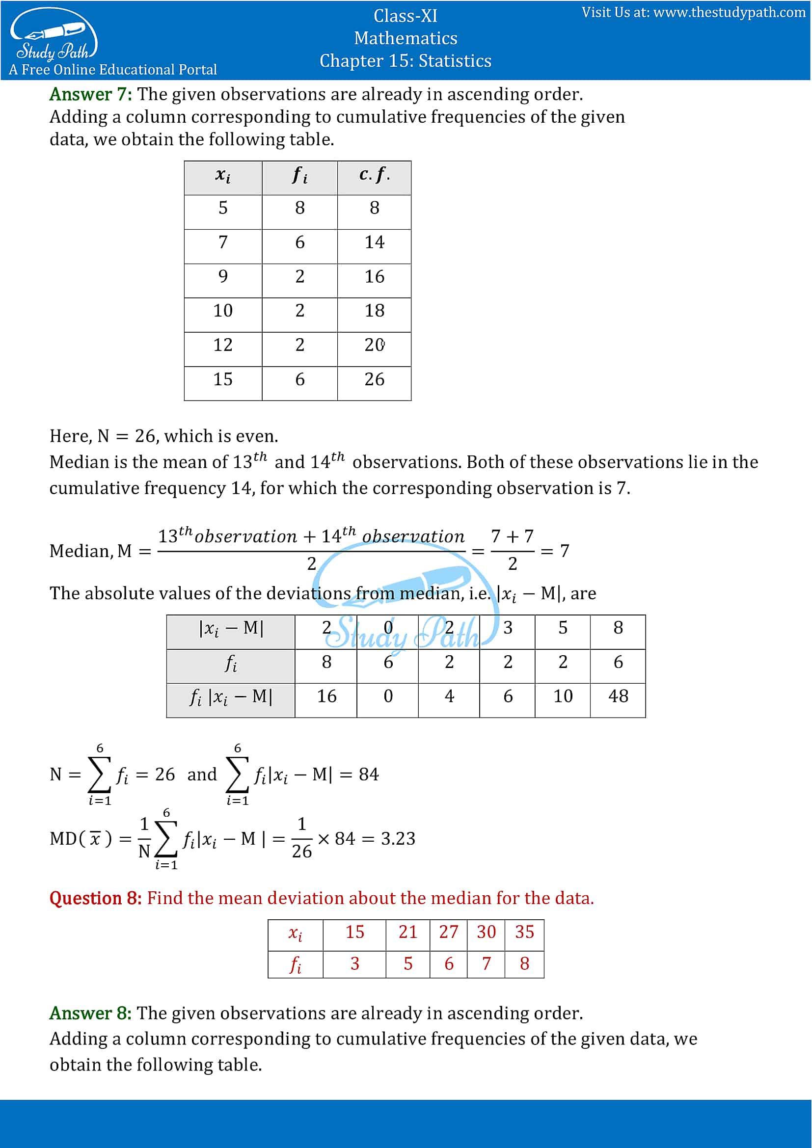 NCERT Solutions for Class 11 Maths chapter 15 Statistics part-5