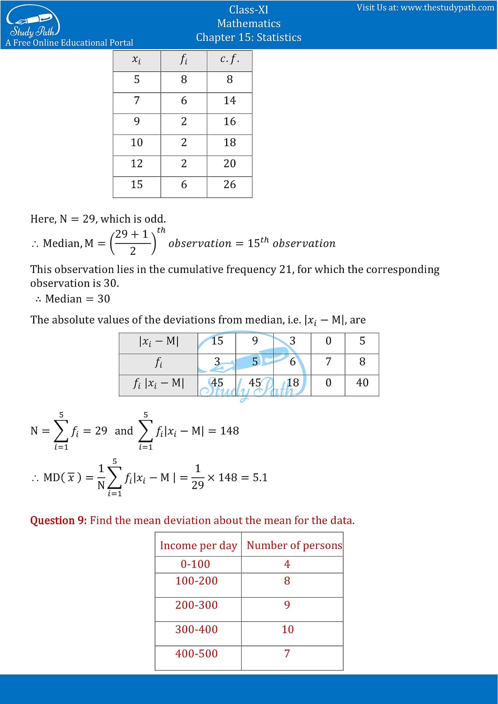NCERT Solutions for Class 11 Maths chapter 15 Statistics part-6