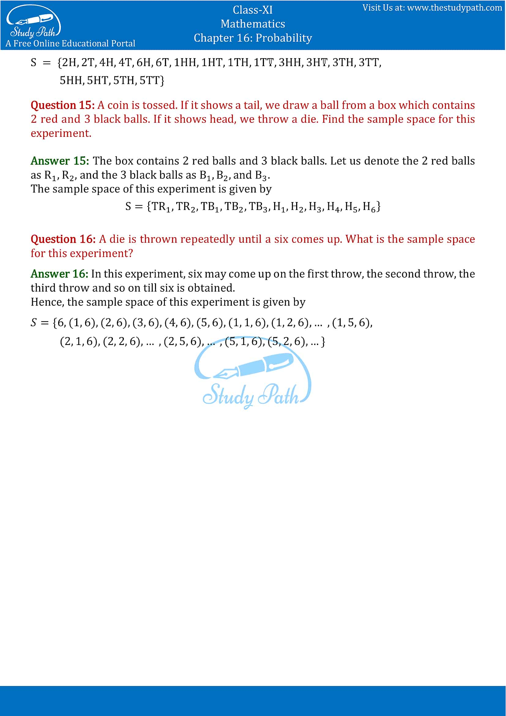 NCERT Solutions for Class 11 Maths chapter 16 Probability Exercise 16.1 part-4