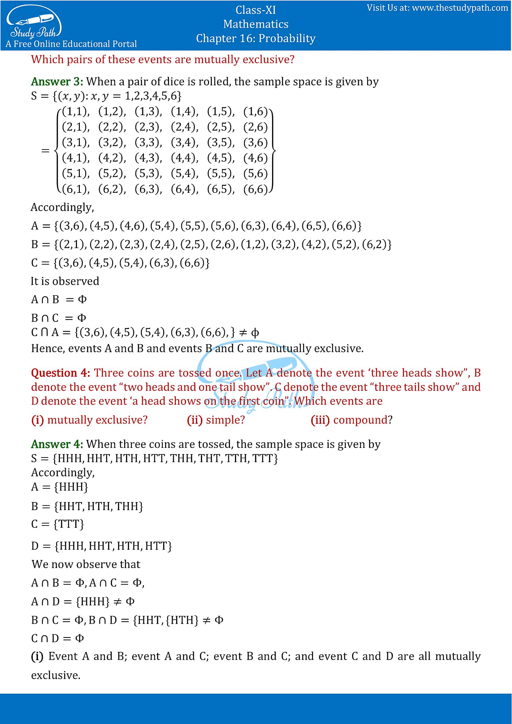 NCERT Solutions for Class 11 Maths chapter 16 Probability Exercise 16.2 part-2