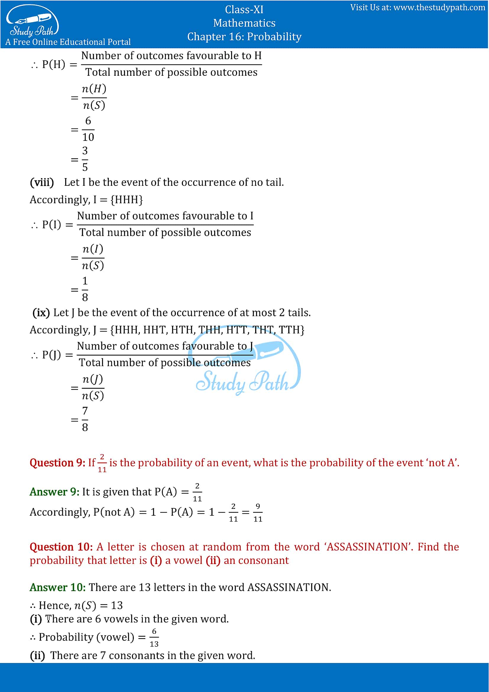 NCERT Solutions for Class 11 Maths chapter 16 Probability Exercise 16.3 part-9